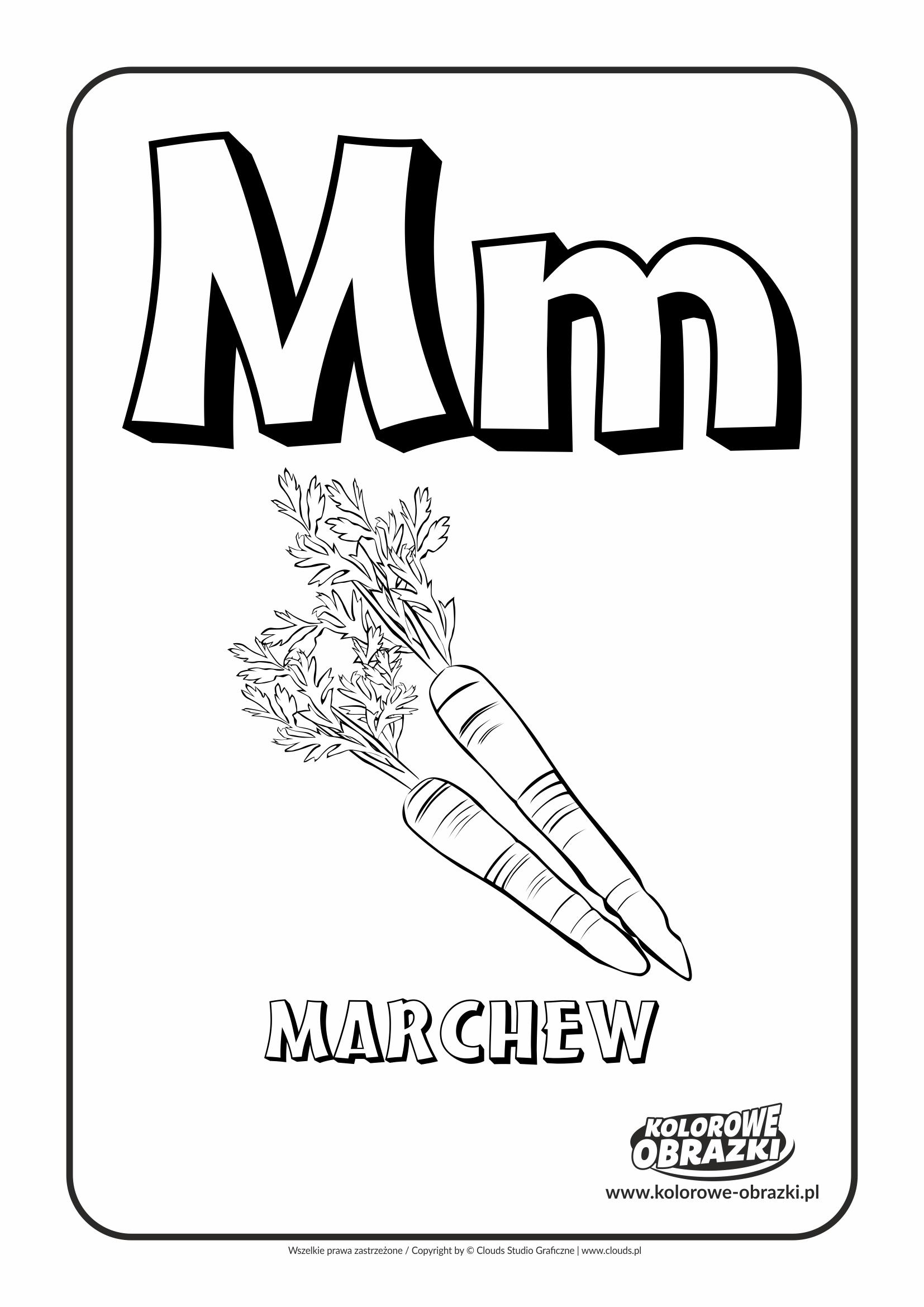 Kolorowanki dla dzieci - Litery / Litera M. Kolorowanka z literą M