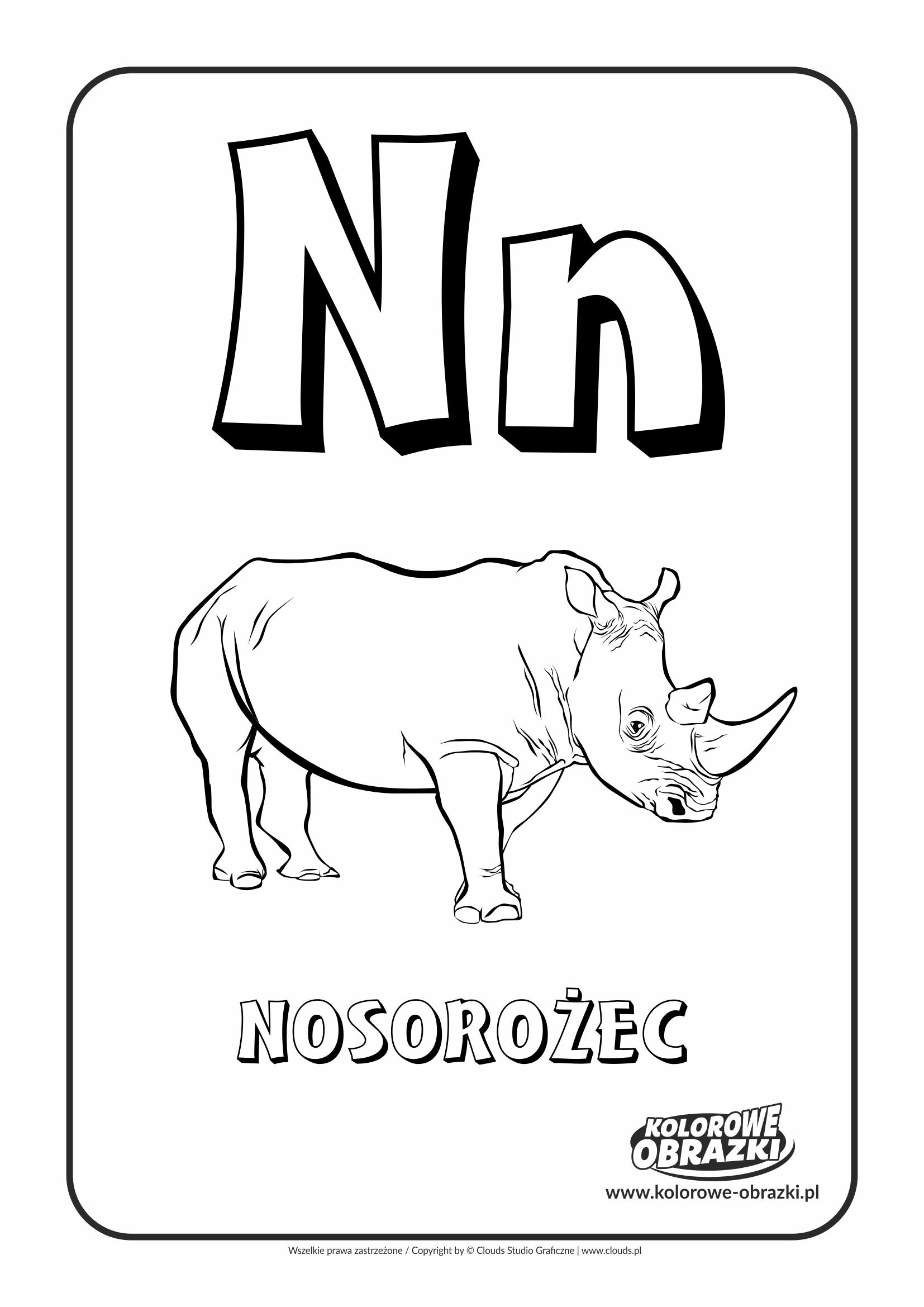Kolorowanki dla dzieci - Litery / Litera N. Kolorowanka z literą N