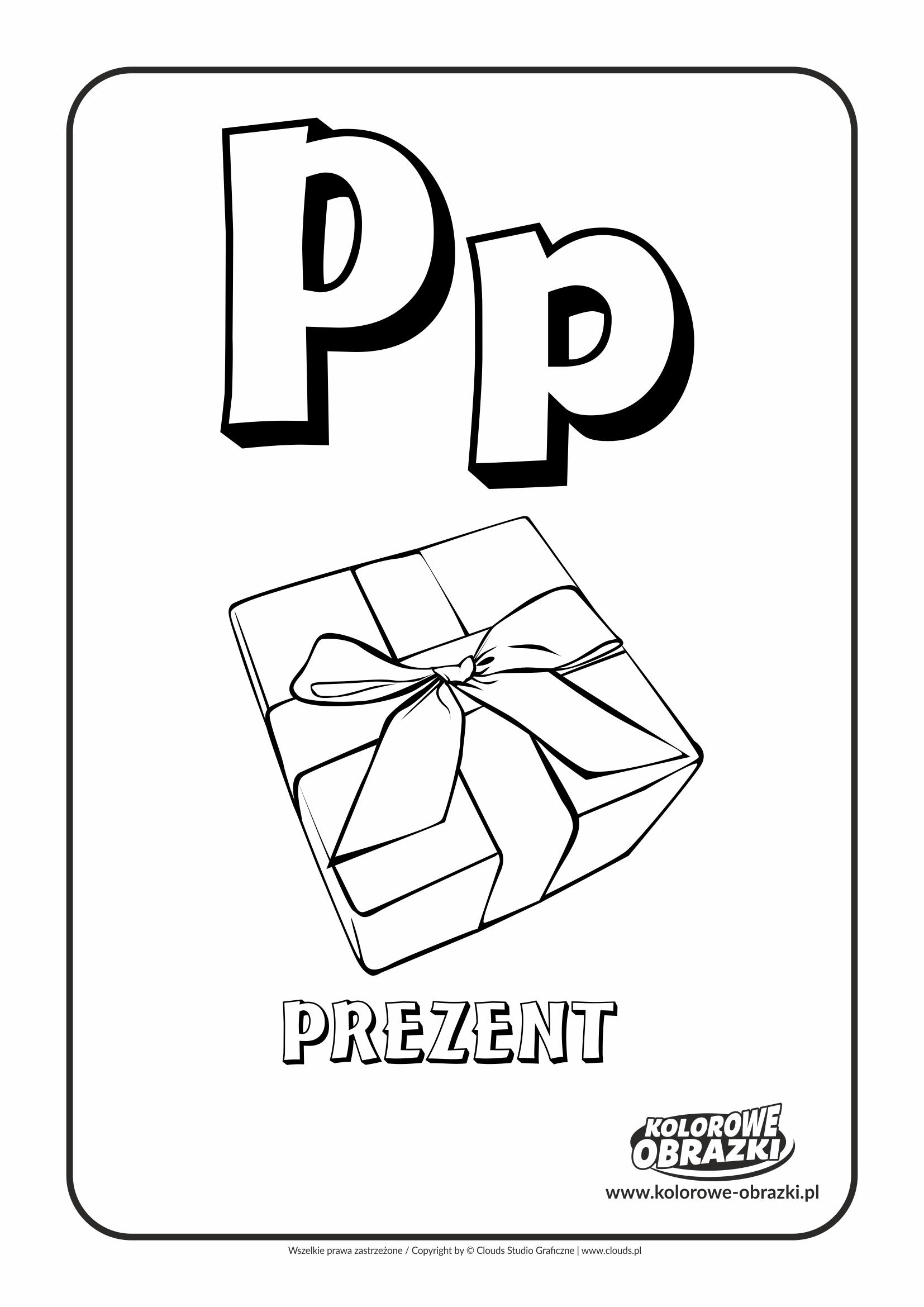 Kolorowanki dla dzieci - Litery / Litera P. Kolorowanka z literą P
