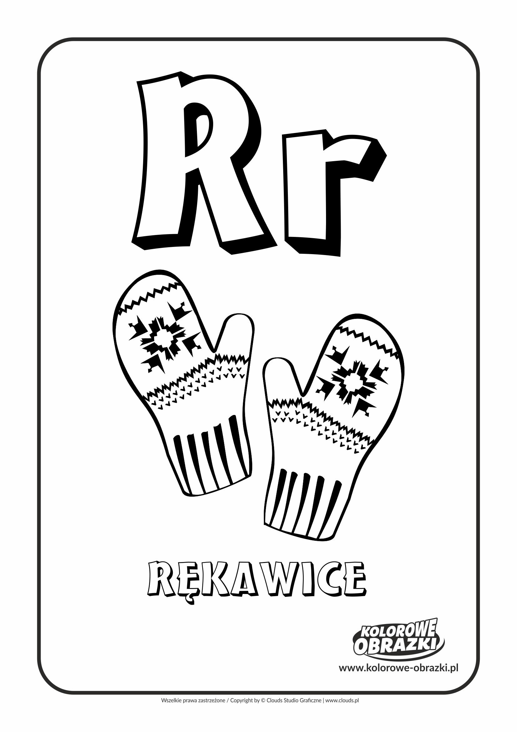Kolorowanki dla dzieci - Litery / Litera R. Kolorowanka z literą R