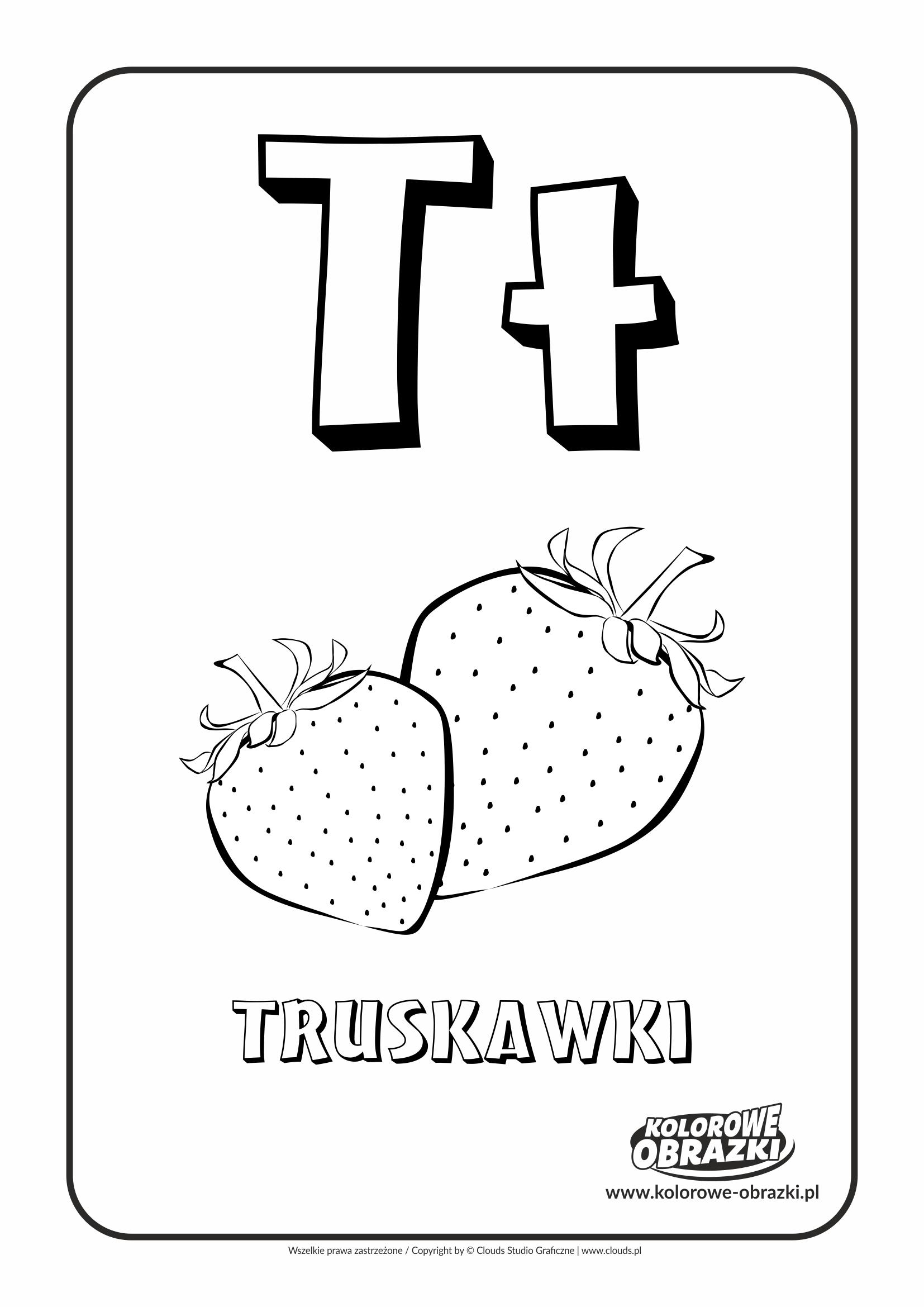 Kolorowanki dla dzieci - Litery / Litera T. Kolorowanka z literą T