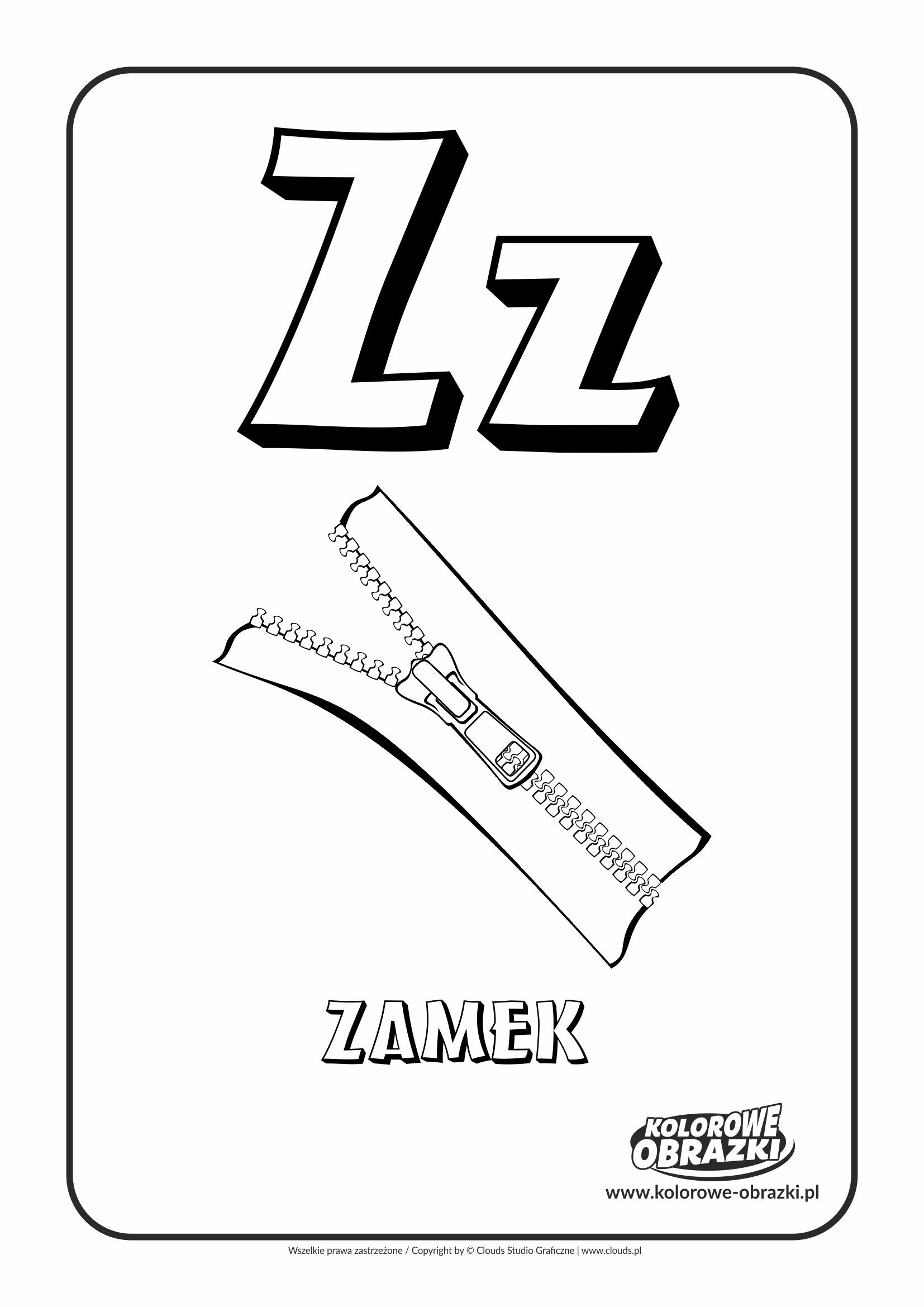 Kolorowanki dla dzieci - Litery / Litera Z. Kolorowanka z literą Z