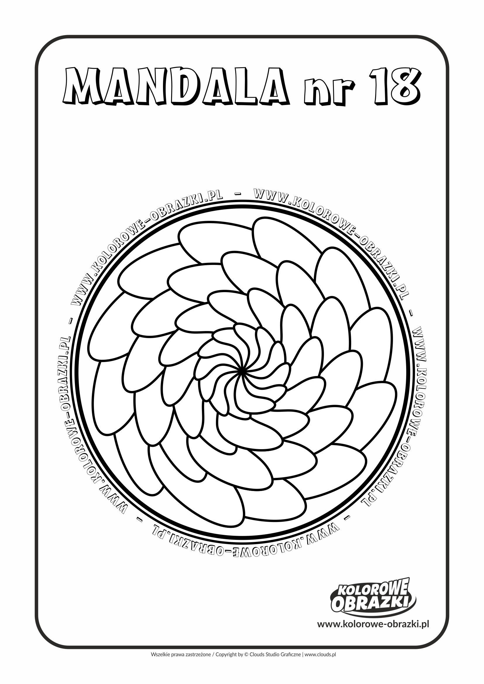 Kolorowanki dla dzieci - Mandale / Mandala nr 18. Kolorowanka z mandalą