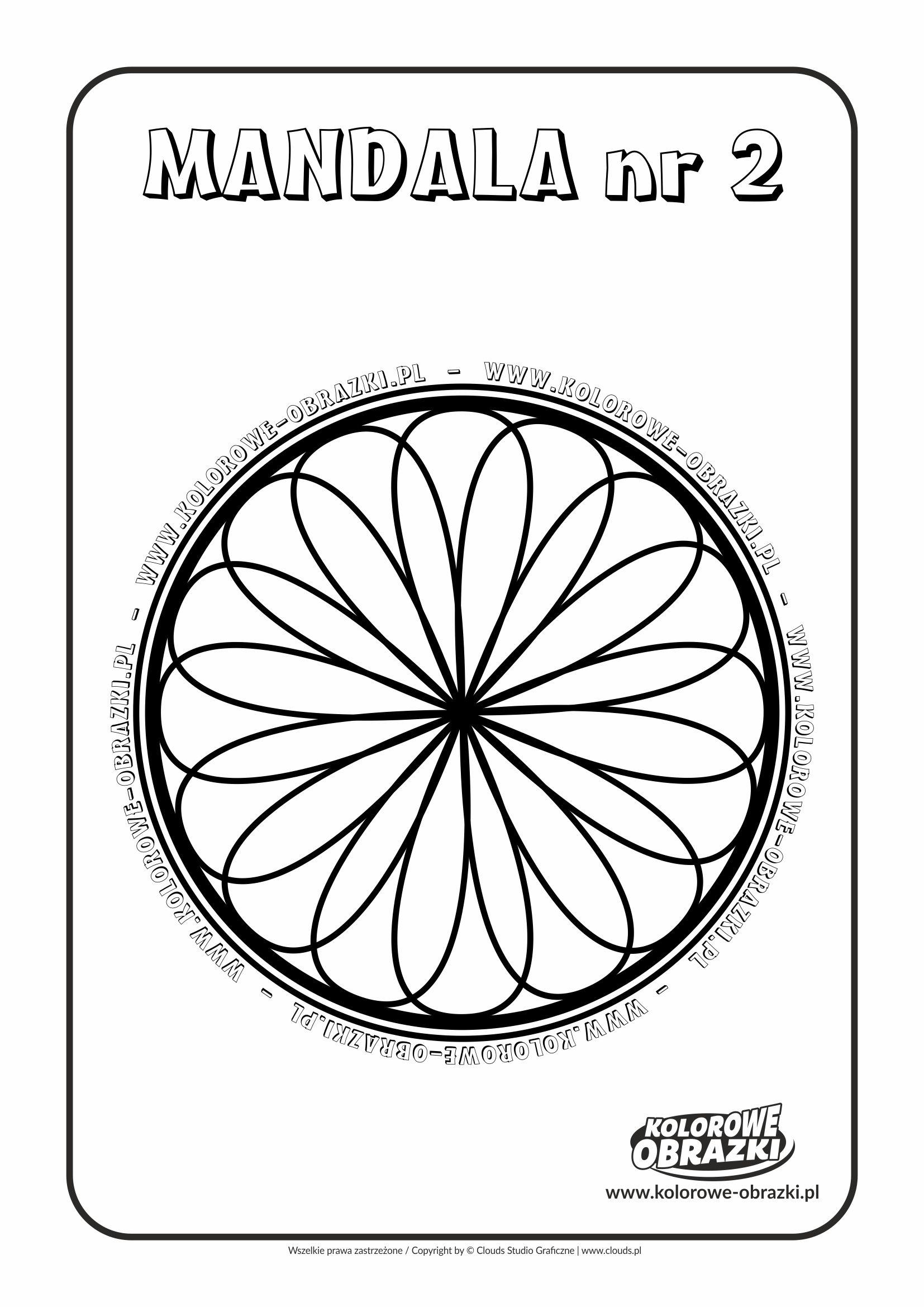 Kolorowanki dla dzieci - Mandale / Mandala nr 2. Kolorowanka z mandalą