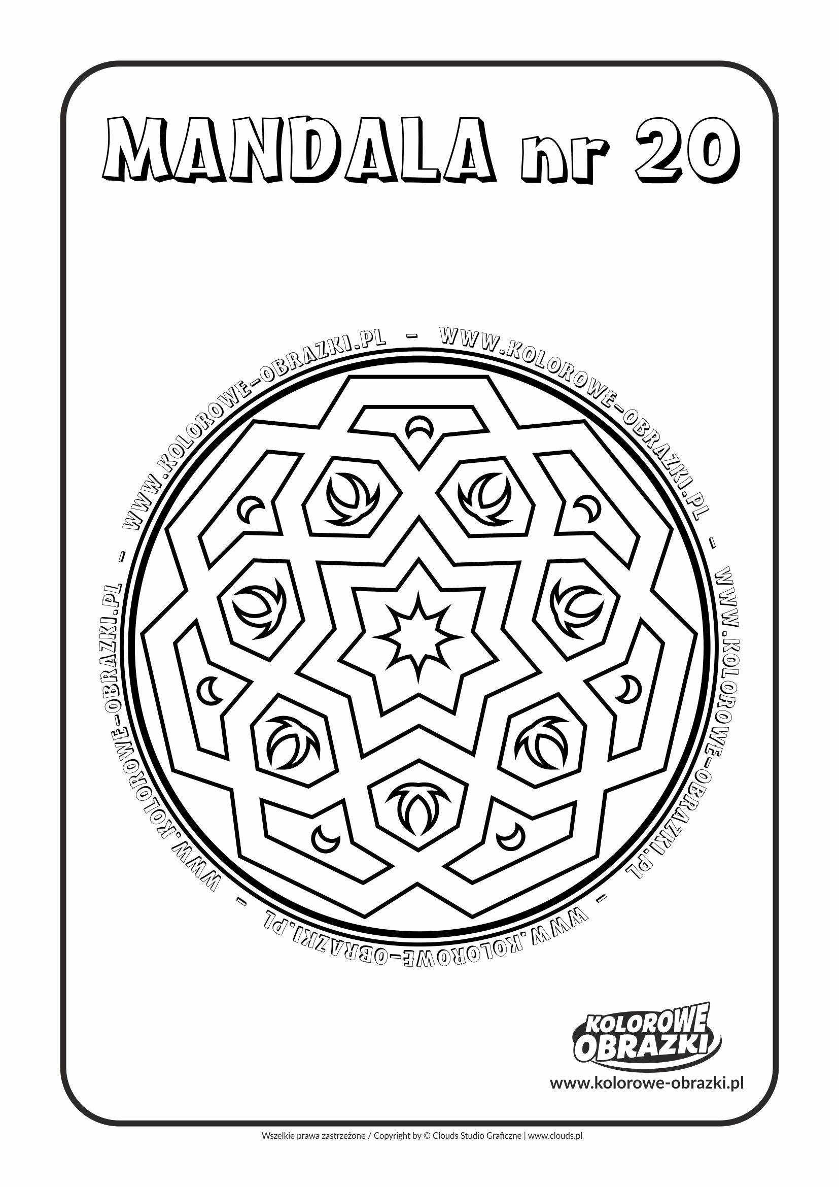 Kolorowanki dla dzieci - Mandale / Mandala nr 20. Kolorowanka z mandalą