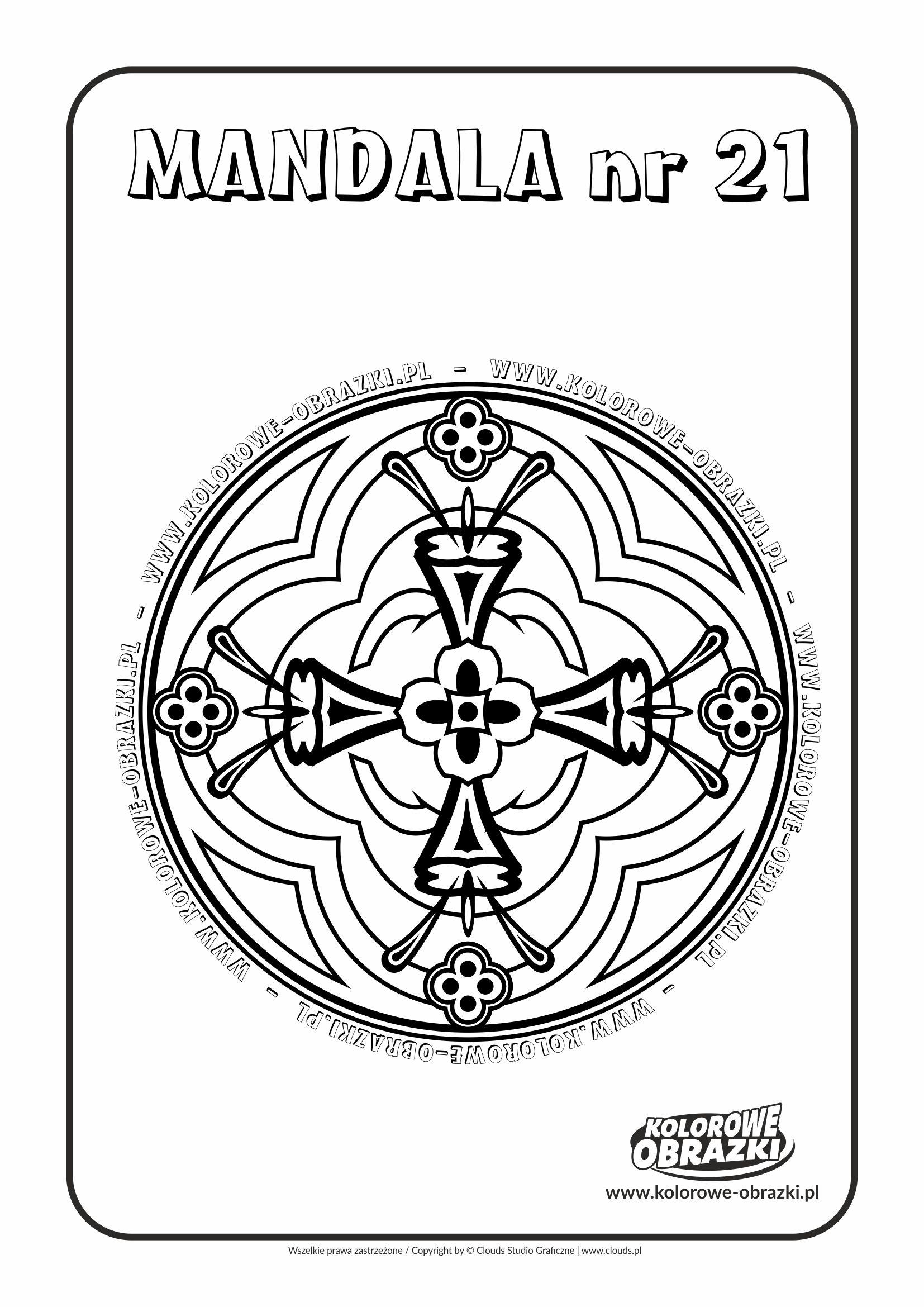 Kolorowanki dla dzieci - Mandale / Mandala nr 21. Kolorowanka z mandalą