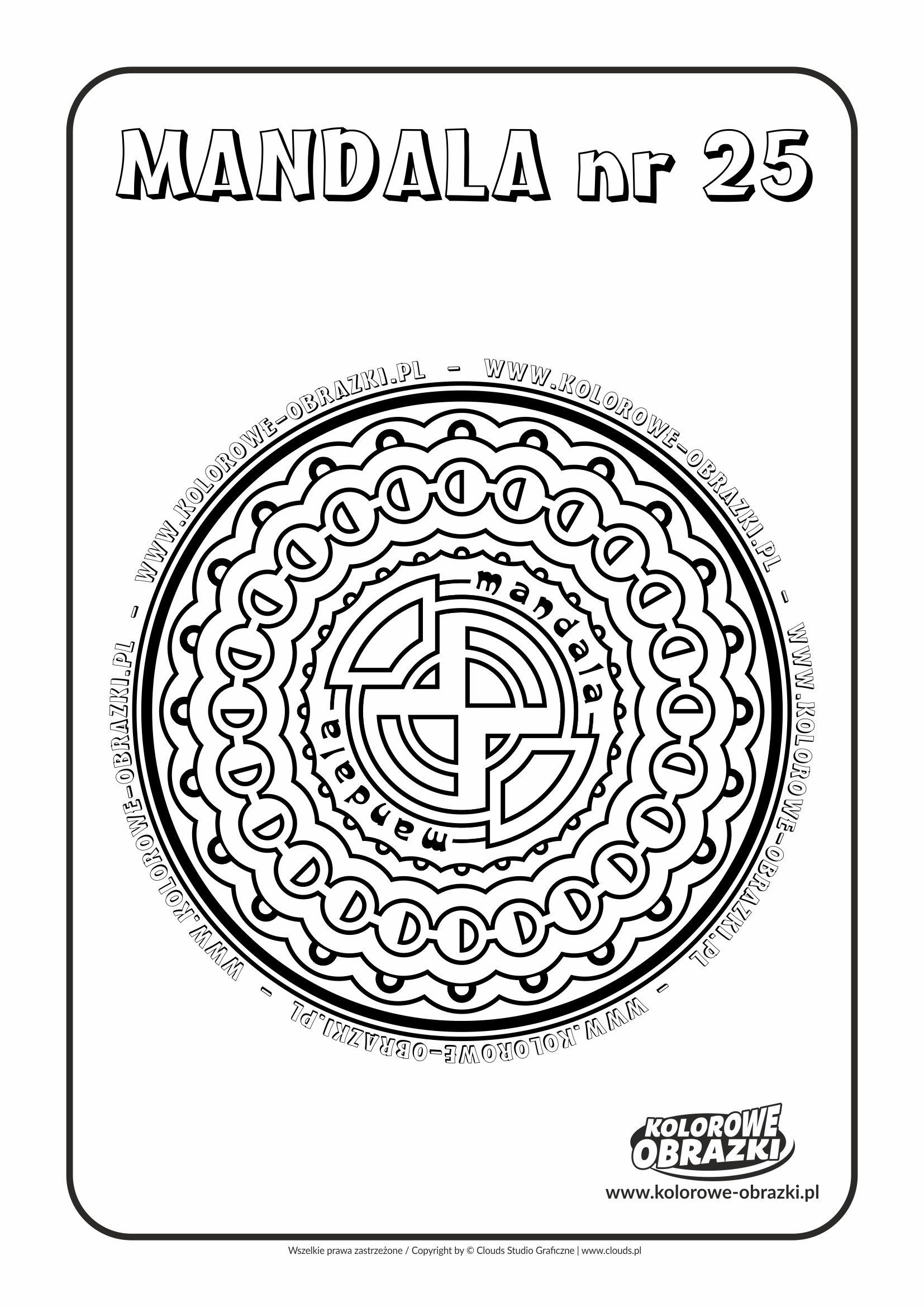 Kolorowanki dla dzieci - Mandale / Mandala nr 25. Kolorowanka z mandalą