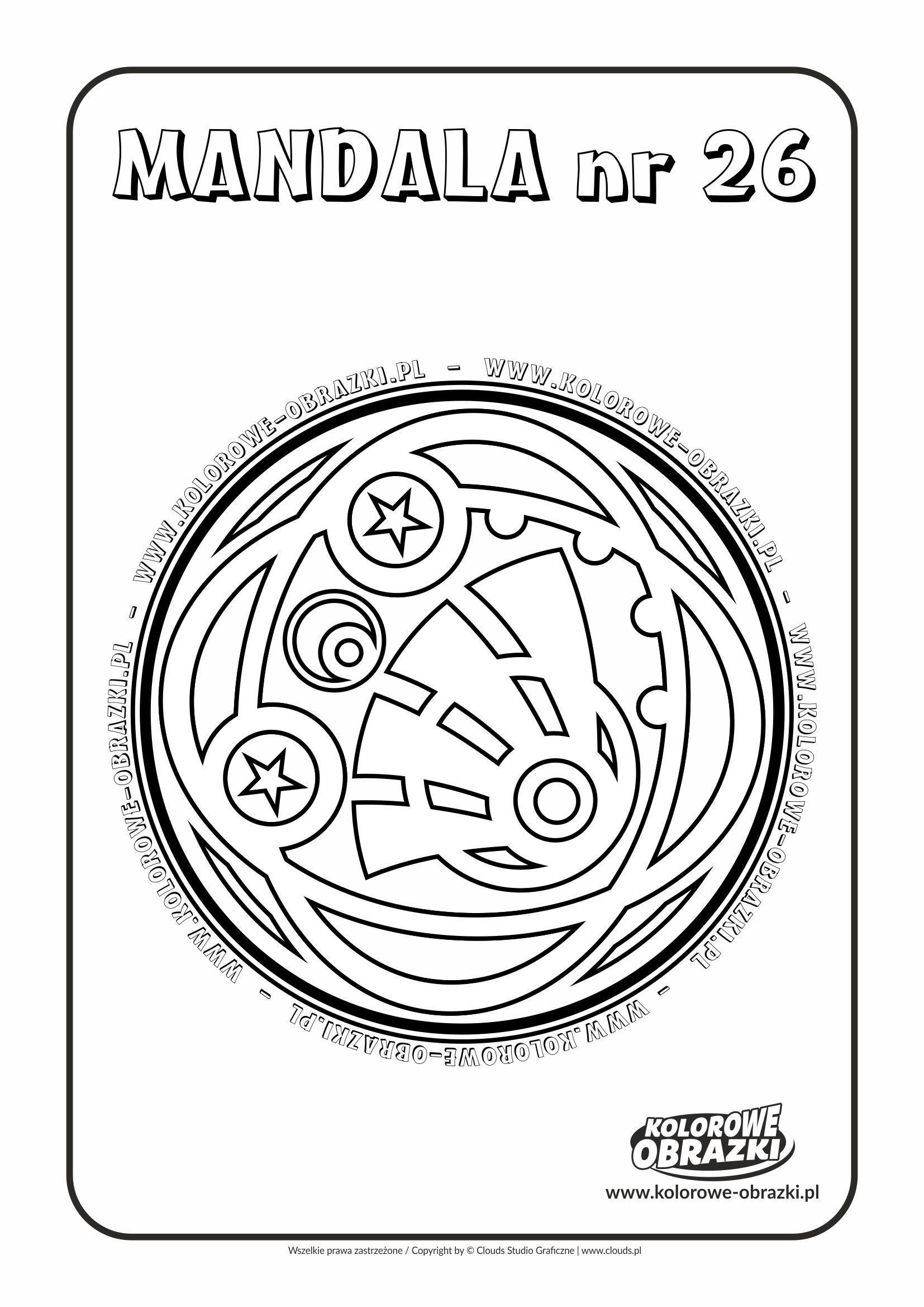 Kolorowanki dla dzieci - Mandale / Mandala nr 26. Kolorowanka z mandalą