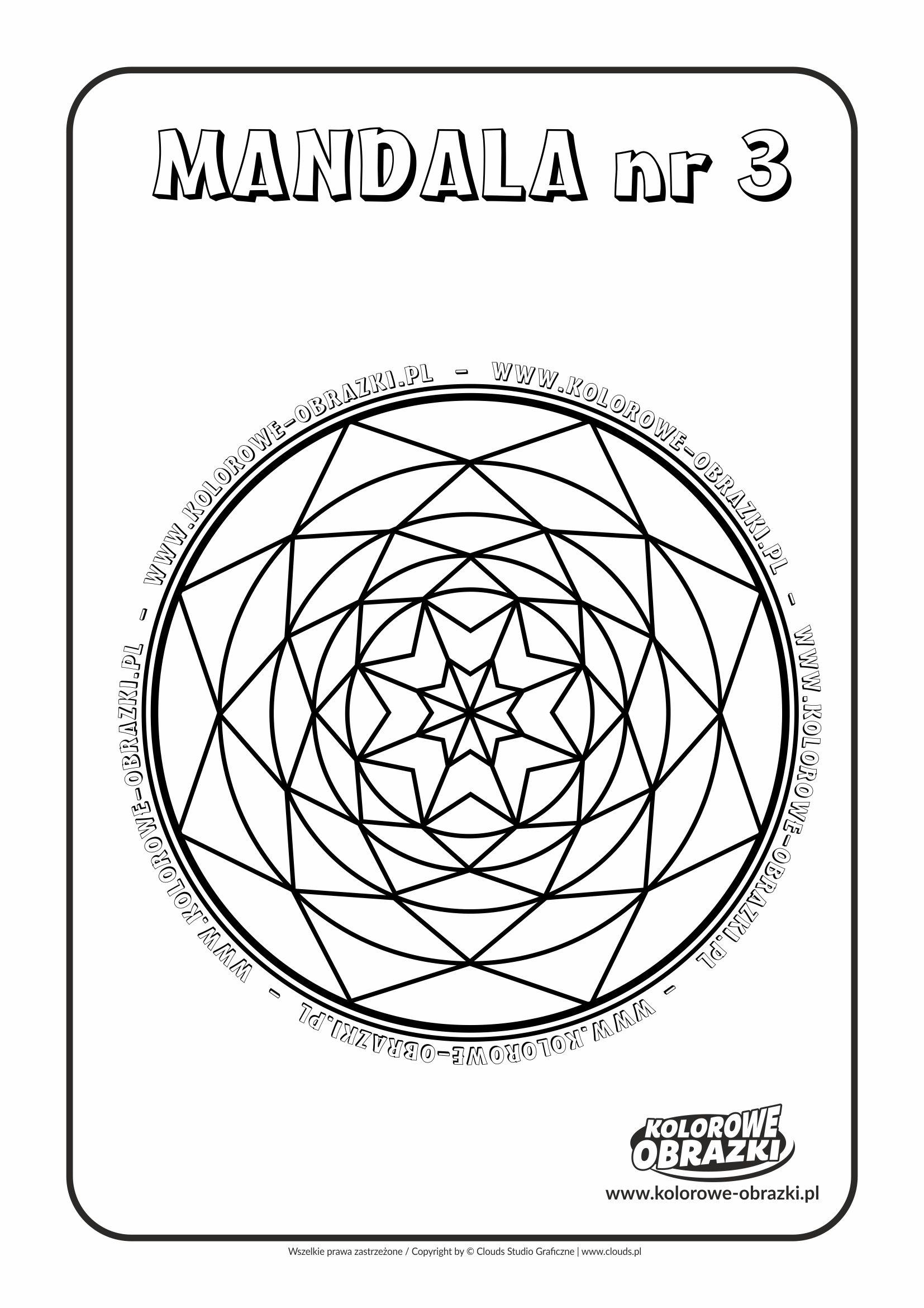 Kolorowanki dla dzieci - Mandale / Mandala nr 3. Kolorowanka z mandalą