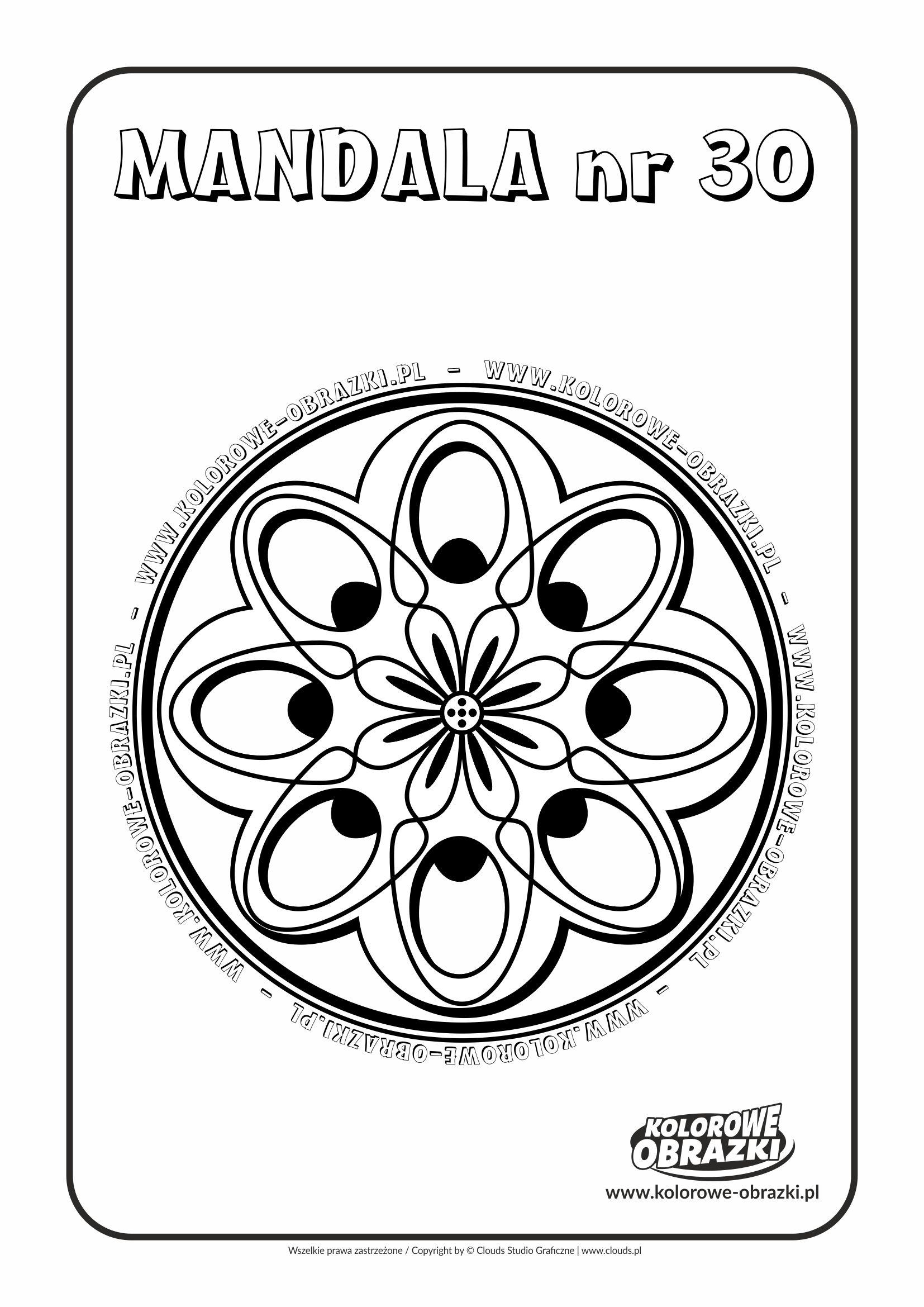 Kolorowanki dla dzieci - Mandale / Mandala nr 30. Kolorowanka z mandalą
