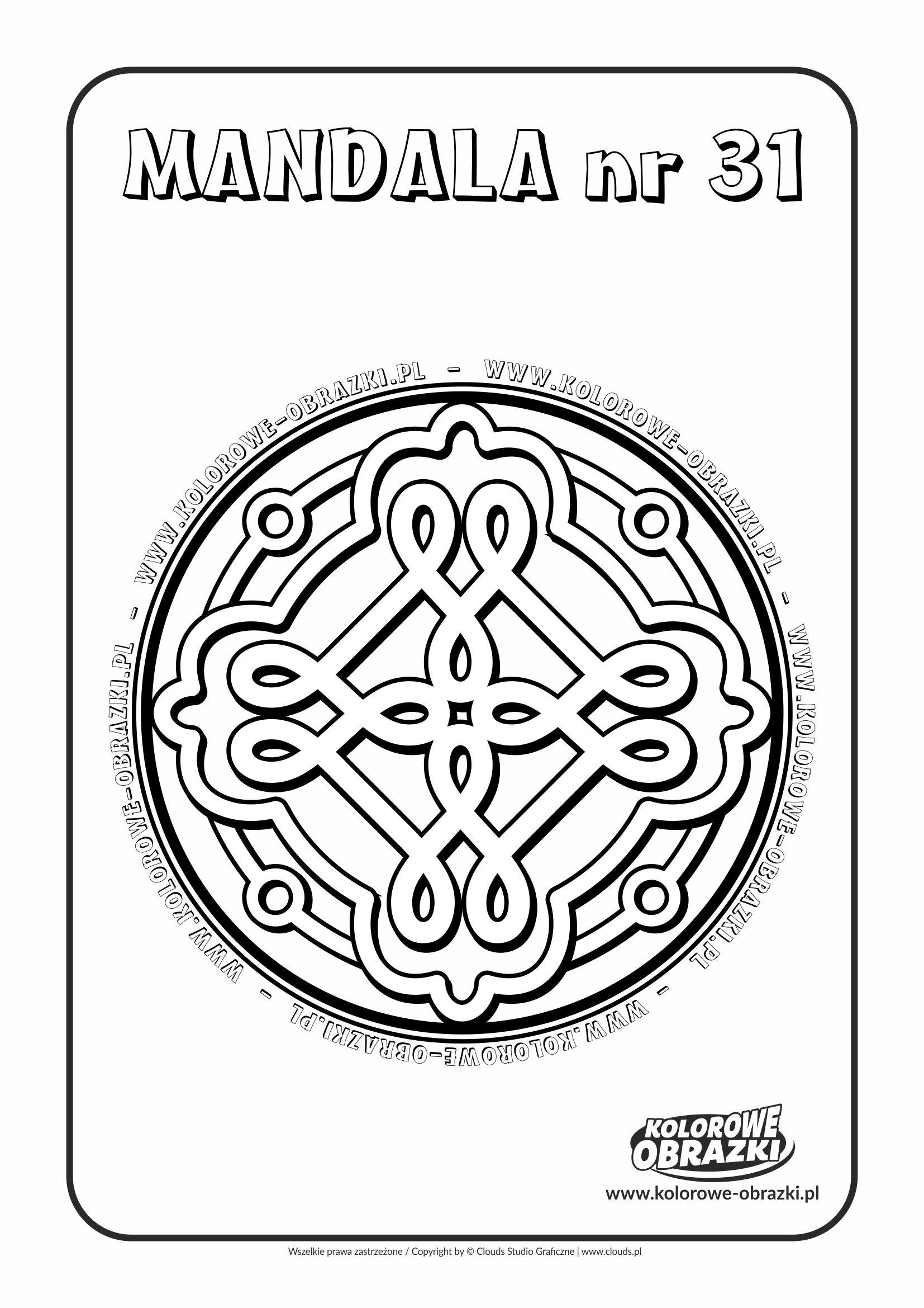 Kolorowanki dla dzieci - Mandale / Mandala nr 31. Kolorowanka z mandalą