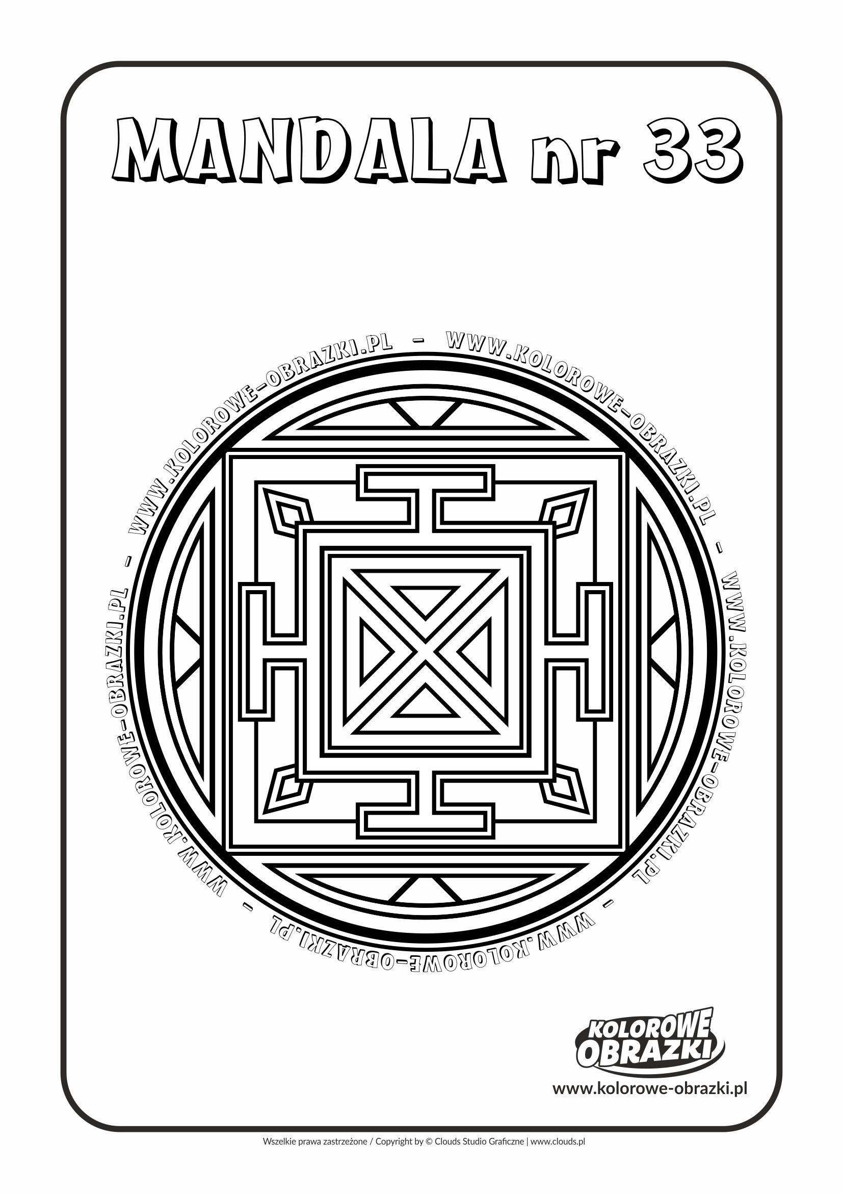Kolorowanki dla dzieci - Mandale / Mandala nr 33. Kolorowanka z mandalą