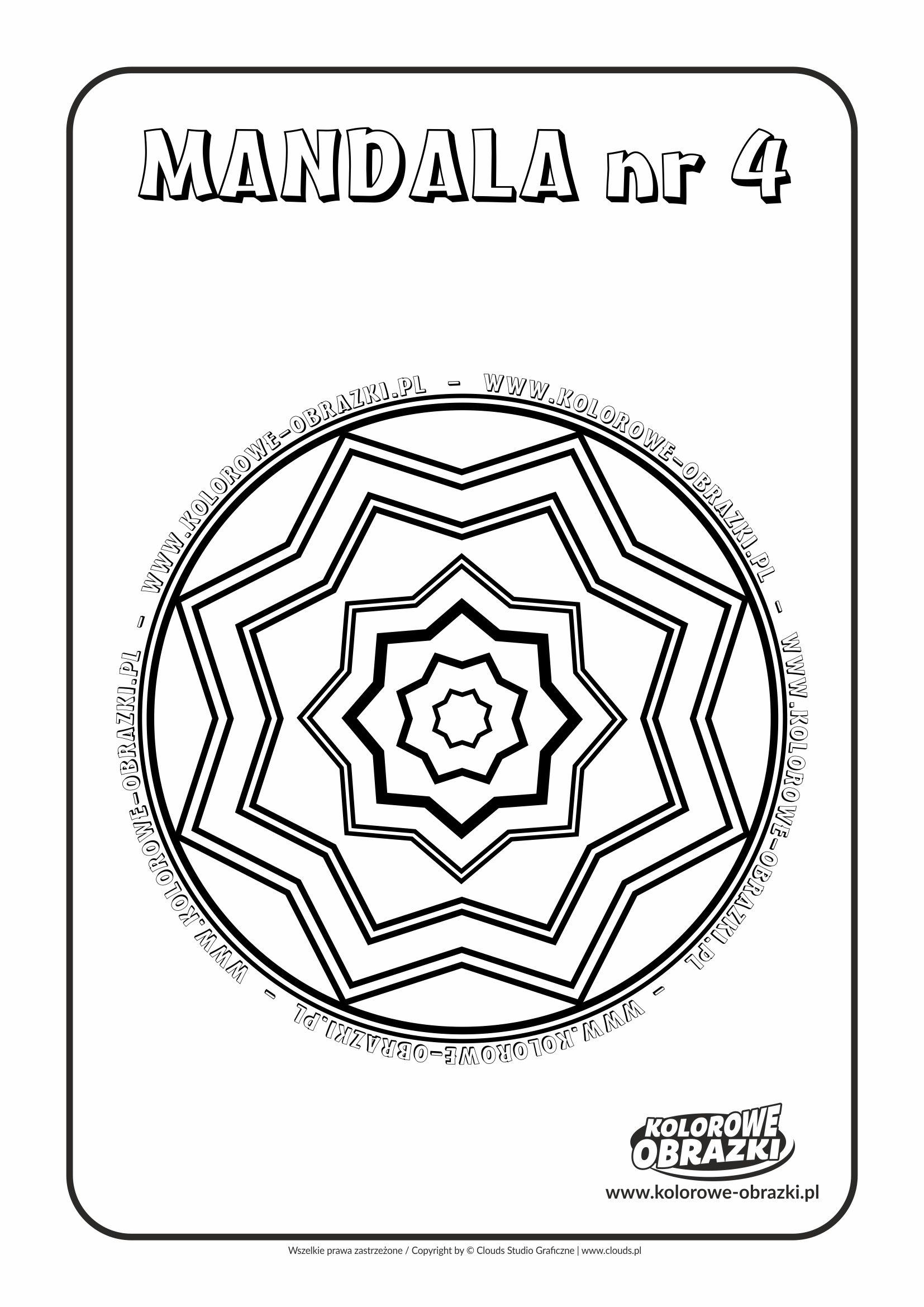 Kolorowanki dla dzieci - Mandale / Mandala nr 4. Kolorowanka z mandalą