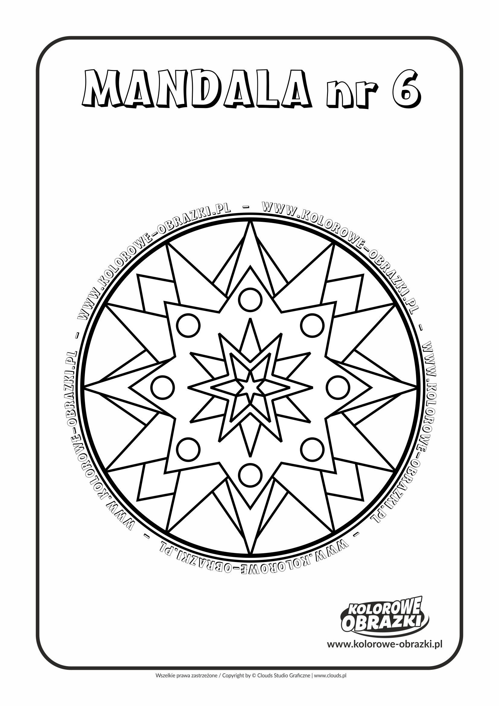 Kolorowanki dla dzieci - Mandale / Mandala nr 6. Kolorowanka z mandalą