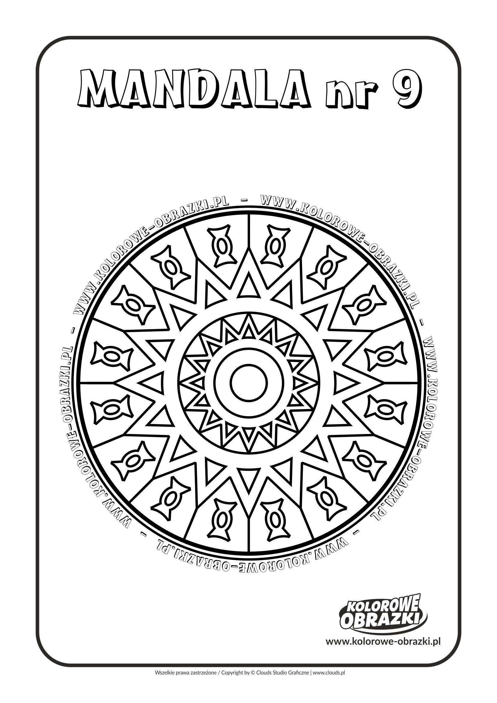 Kolorowanki dla dzieci - Mandale / Mandala nr 9. Kolorowanka z mandalą