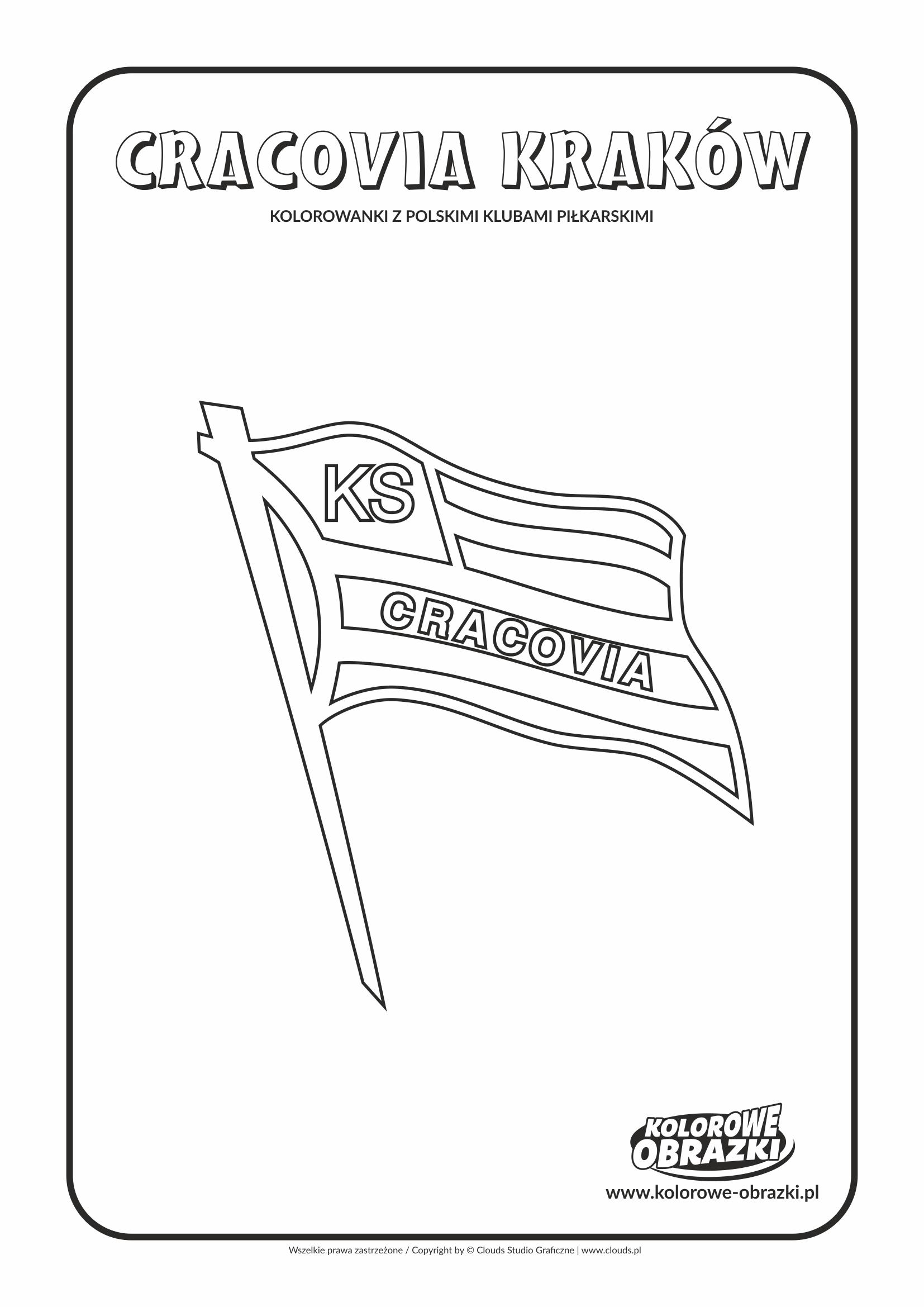 Kolorowanki dla dzieci - Polskie kluby piłkarskie / Cracovia Kraków. Kolorowanka z polskimi klubami piłkarskimi
