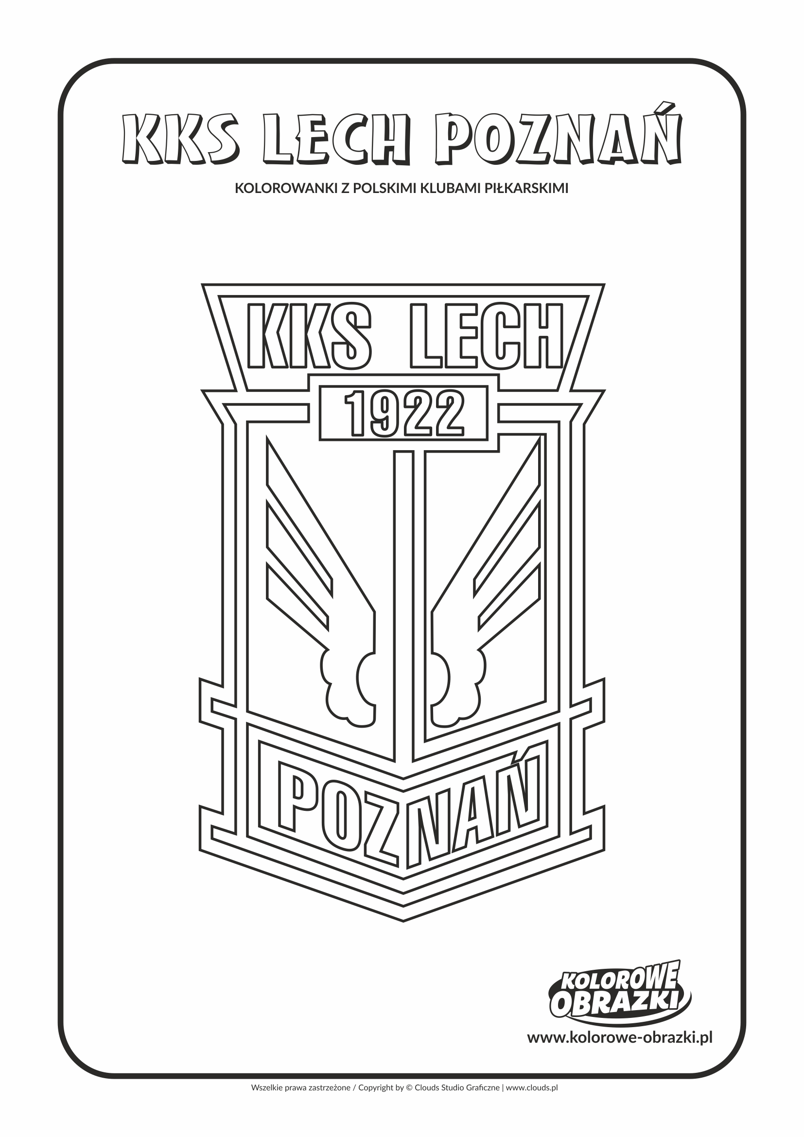 Kolorowanki dla dzieci - Polskie kluby piłkarskie / KSS Lech Poznań. Kolorowanka z polskimi klubami piłkarskimi