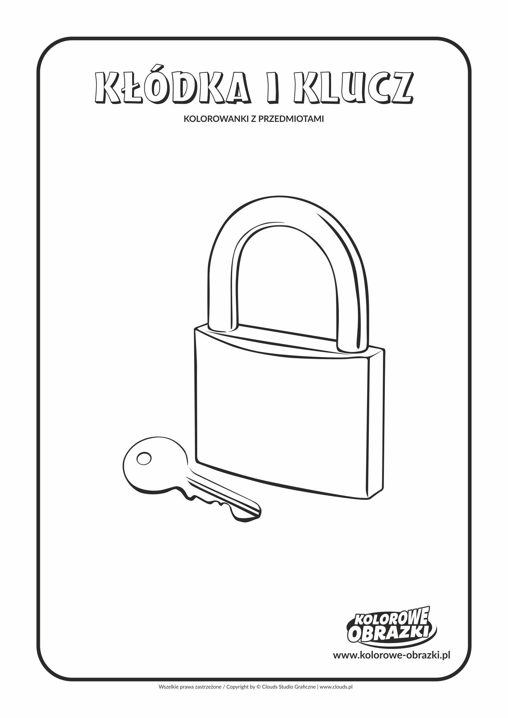 Kolorowanki dla dzieci - Przedmioty / Kłódka i klucz. Kolorowanka z kłódką i kluczem