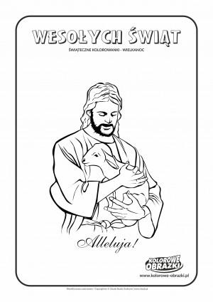 Kolorowanki dla dzieci - Wielkanoc / Jezus Chrystus i Baranek. Kolorowanka z Jezusem Chrystusem i Barankiem
