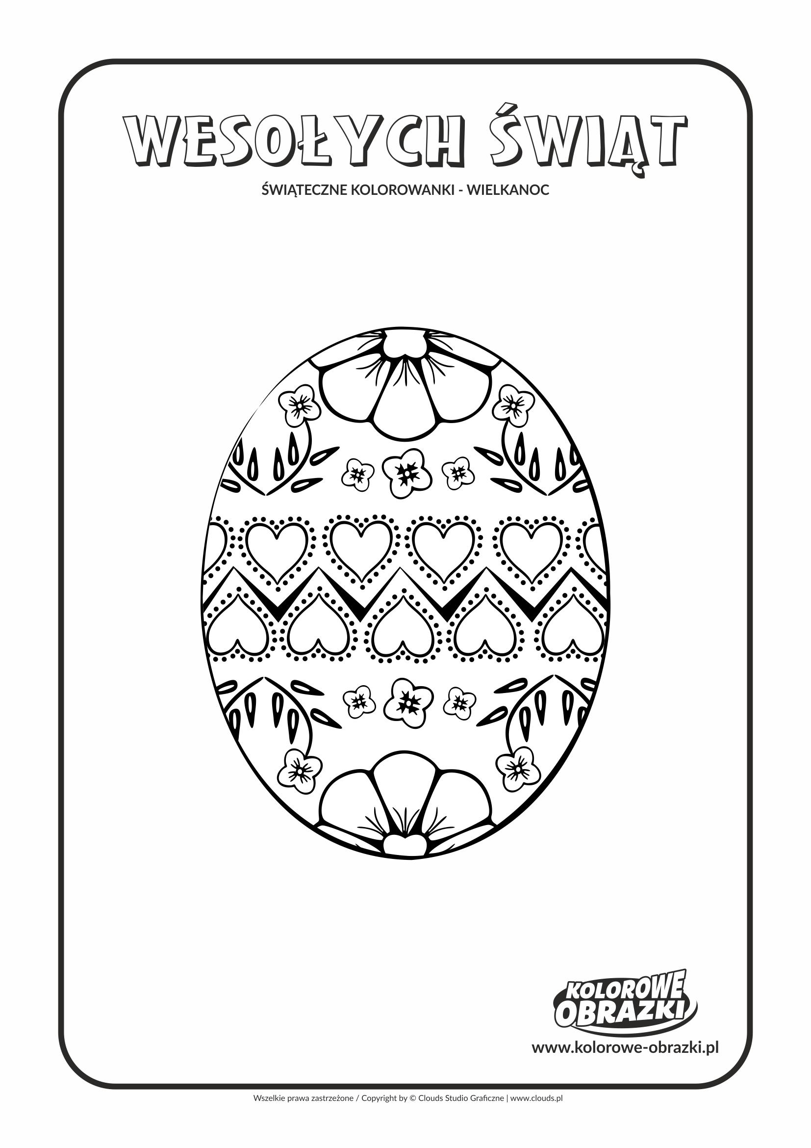 Kolorowanki dla dzieci - Wielkanoc / Wielkanocna pisanka 4. Kolorowanka z Wielkanocną pisanką 4