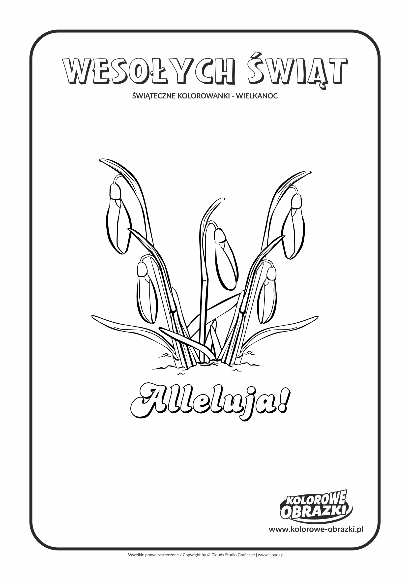 Kolorowanki dla dzieci - Wielkanoc / Wielkanocne kwiatki. Kolorowanka z wielkanocnymi kwiatkami