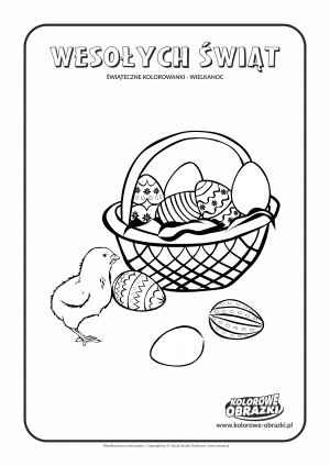Kolorowanki dla dzieci - Wielkanoc / Wielkanocny koszyk. Kolorowanka z Wielkanocnym koszykiem