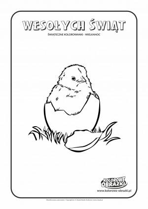 Kolorowanki dla dzieci - Wielkanoc / Wielkanocny kurczaczek. Kolorowanka z Wielkanocnym kurczaczkiem