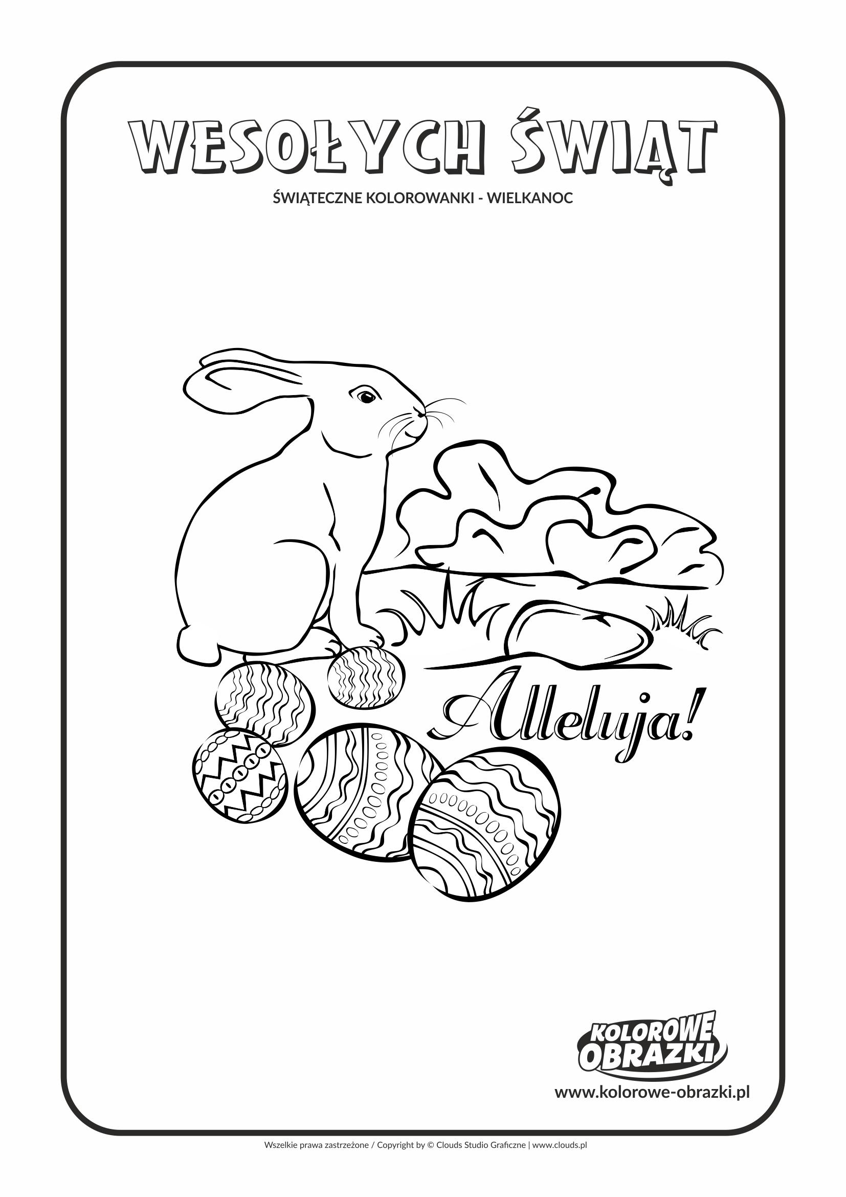 Kolorowanki dla dzieci - Wielkanoc / Wielkanocny zajączek 2. Kolorowanka z wielkanocnym zajączkiem 2