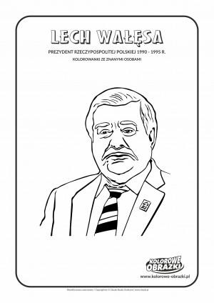 Kolorowanki dla dzieci - Znane osoby / Lech Wałęsa. Kolorowanka z Lechem Wałęsą