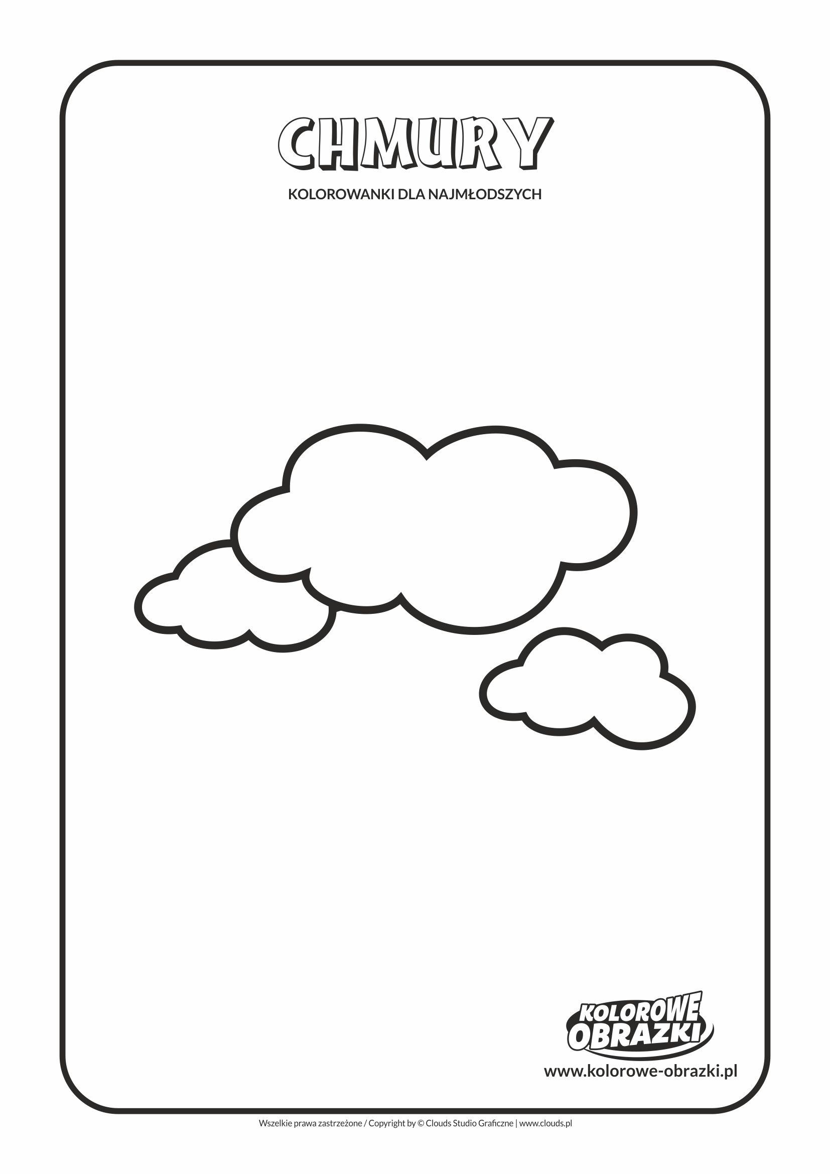 Proste kolorowanki dla najmłodszych - Kształty / Chmury. Kolorowanka z chmurami