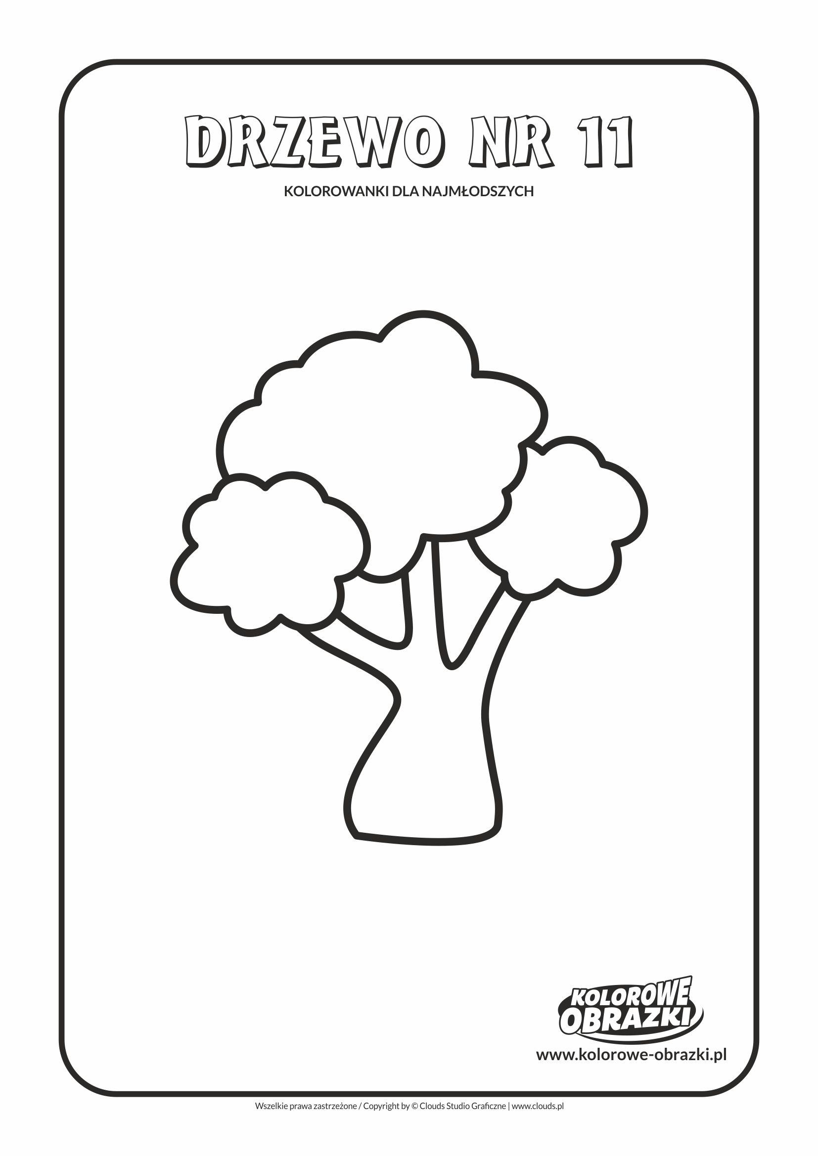 Proste kolorowanki dla najmłodszych - Drzewa / Drzewo nr 11. Kolorowanka z drzewem
