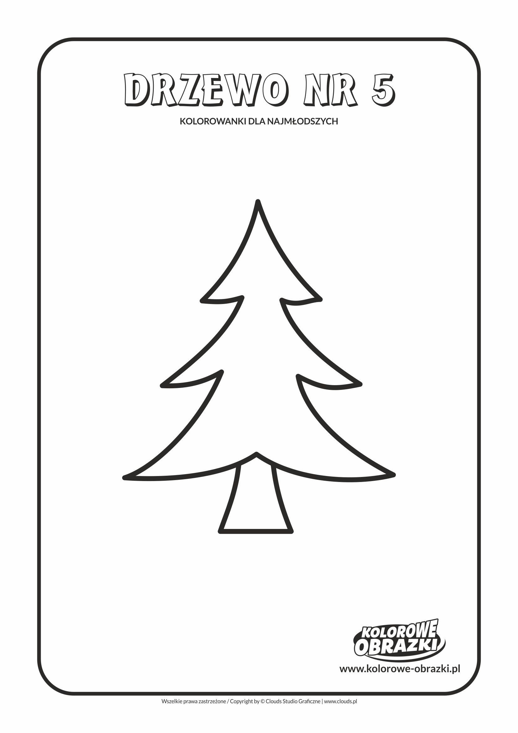 Proste kolorowanki dla najmłodszych - Drzewa / Drzewo nr 5. Kolorowanka z drzewem