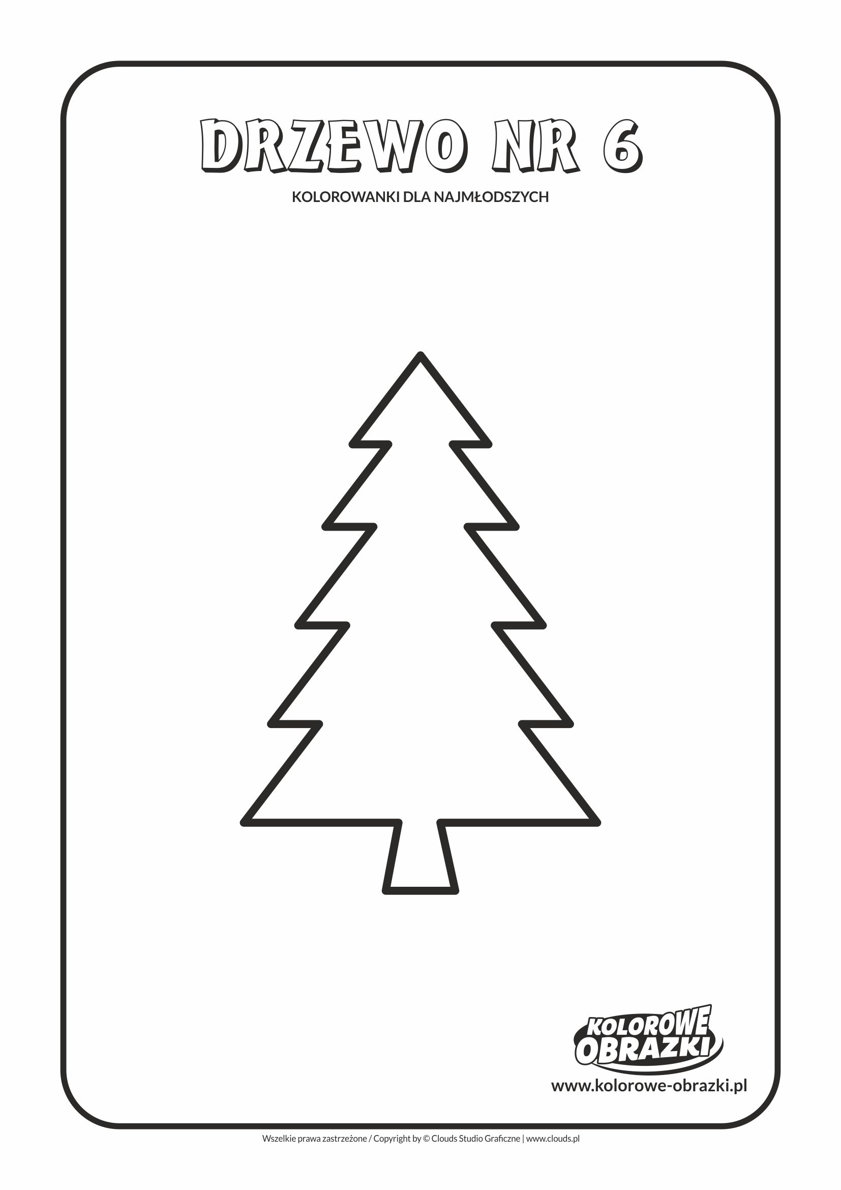 Proste kolorowanki dla najmłodszych - Drzewa / Drzewo nr 6. Kolorowanka z drzewem