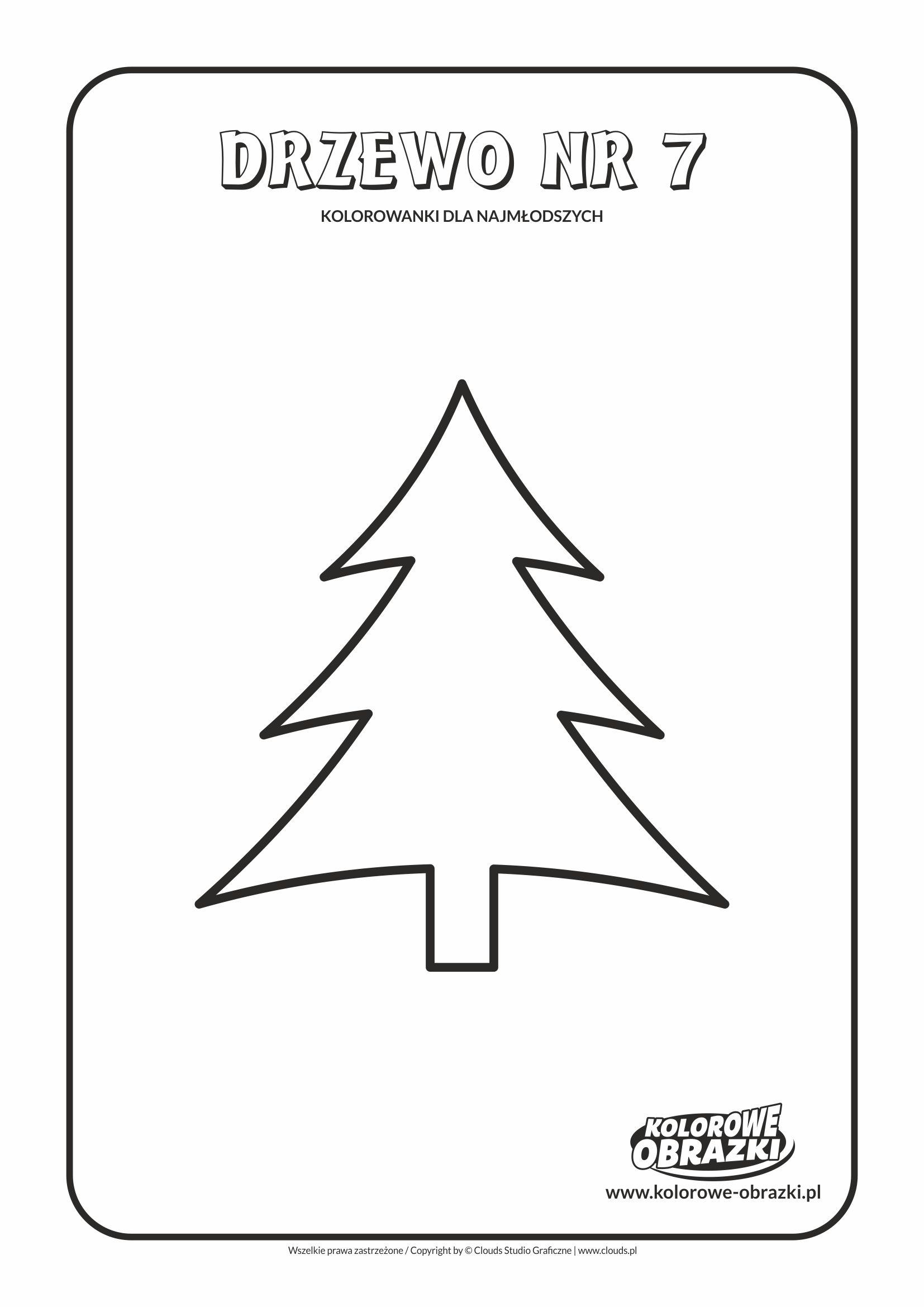 Proste kolorowanki dla najmłodszych - Drzewa / Drzewo nr 7. Kolorowanka z drzewem