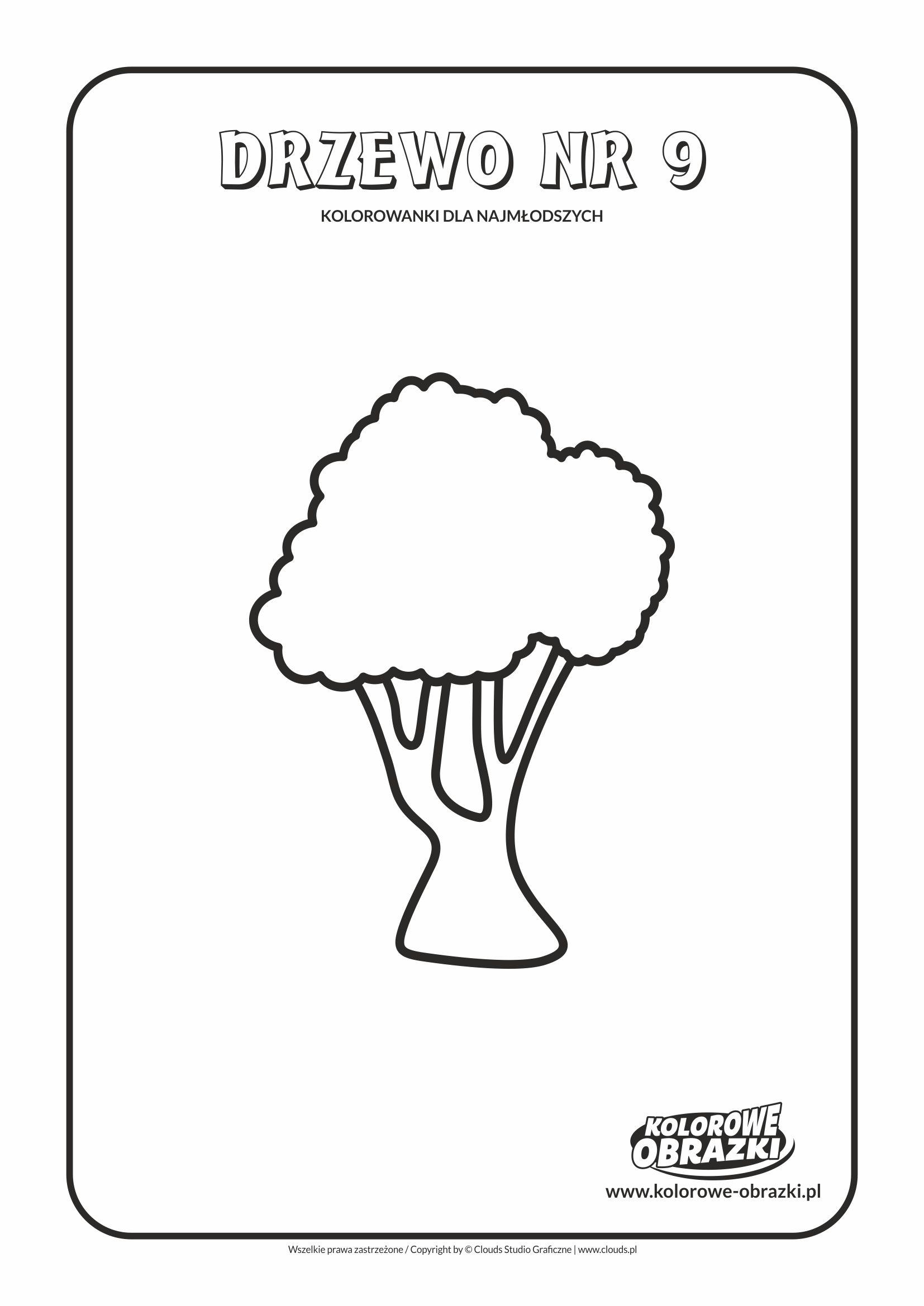 Proste kolorowanki dla najmłodszych - Drzewa / Drzewo nr 9. Kolorowanka z drzewem