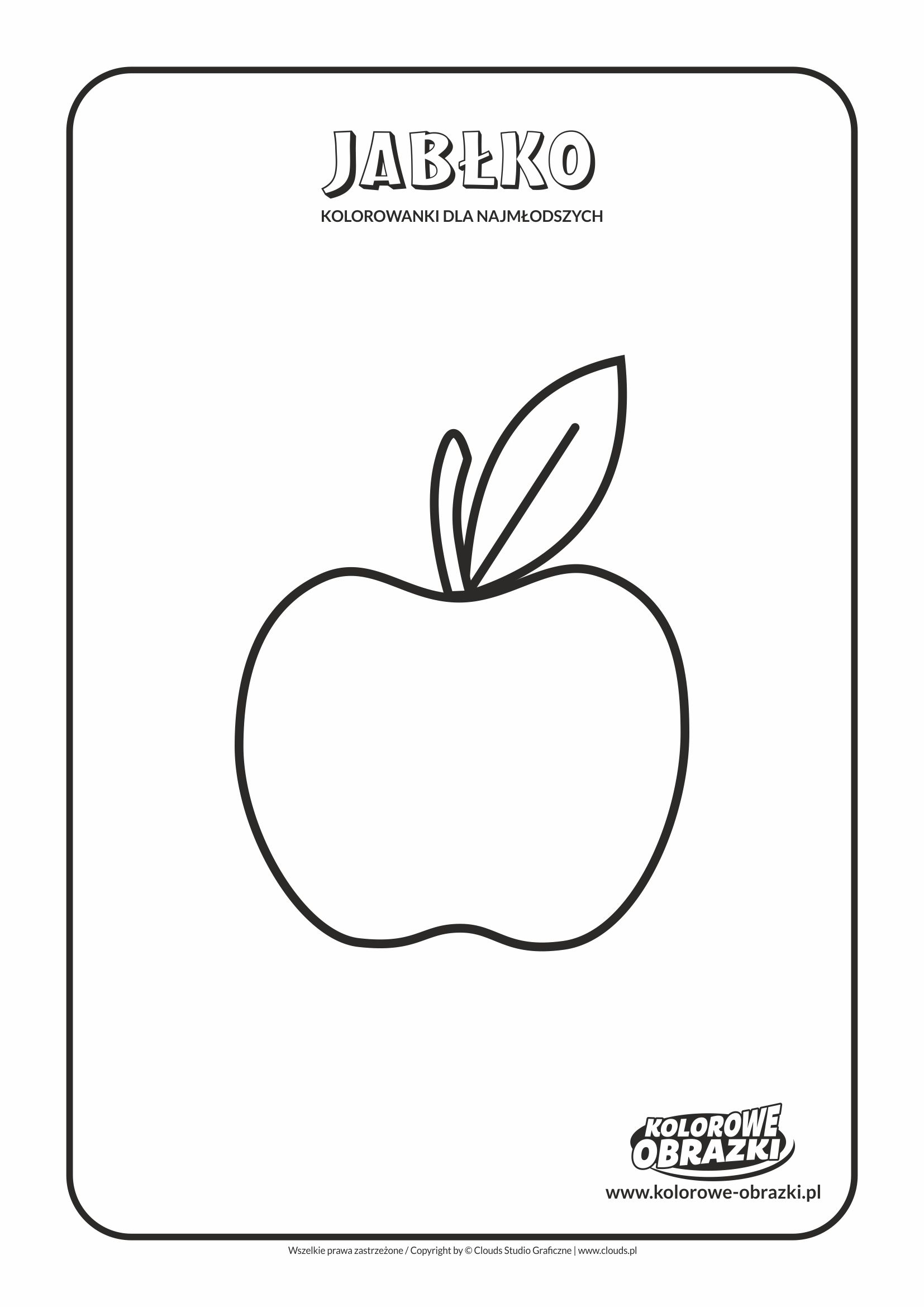 Proste kolorowanki dla najmłodszych - Owoce / Jabłko. Kolorowanka z jabłkiem