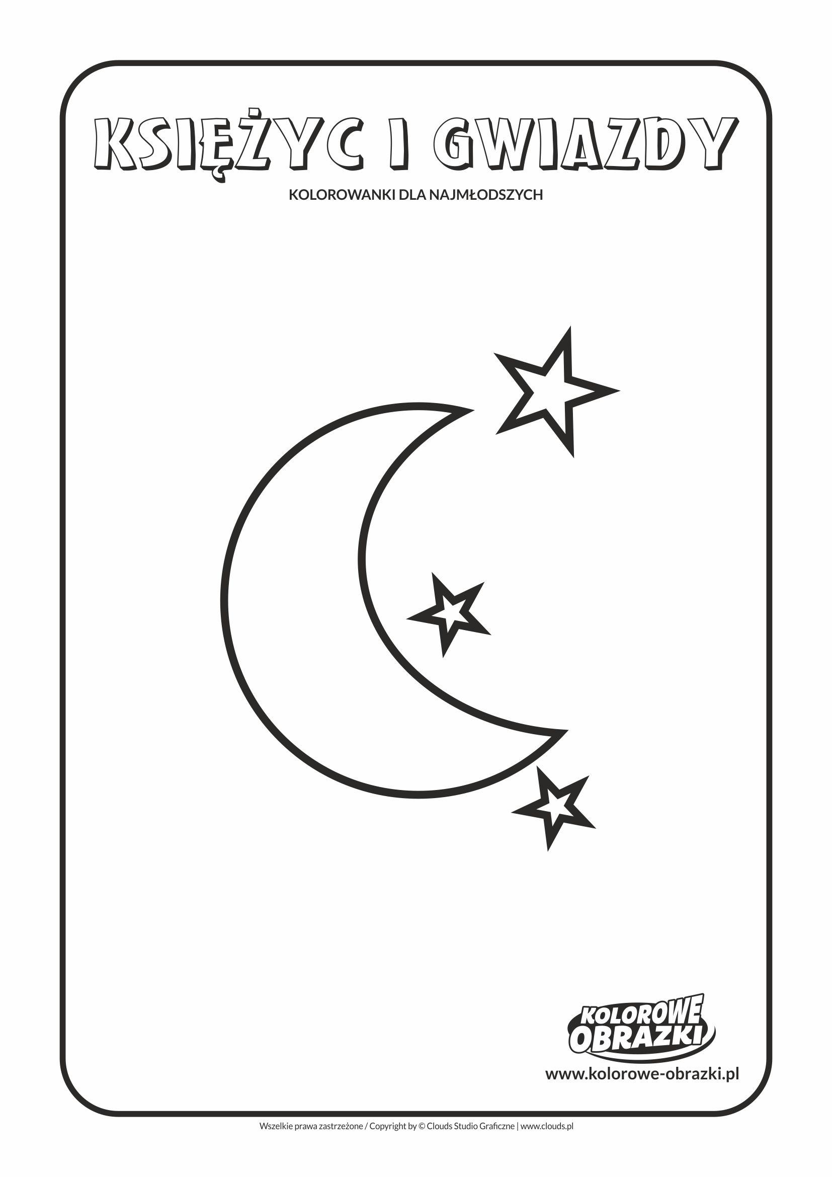 Proste kolorowanki dla najmłodszych - Kształty / Księżyc i gwiazdy. Kolorowanka z księżycem i gwiazdami