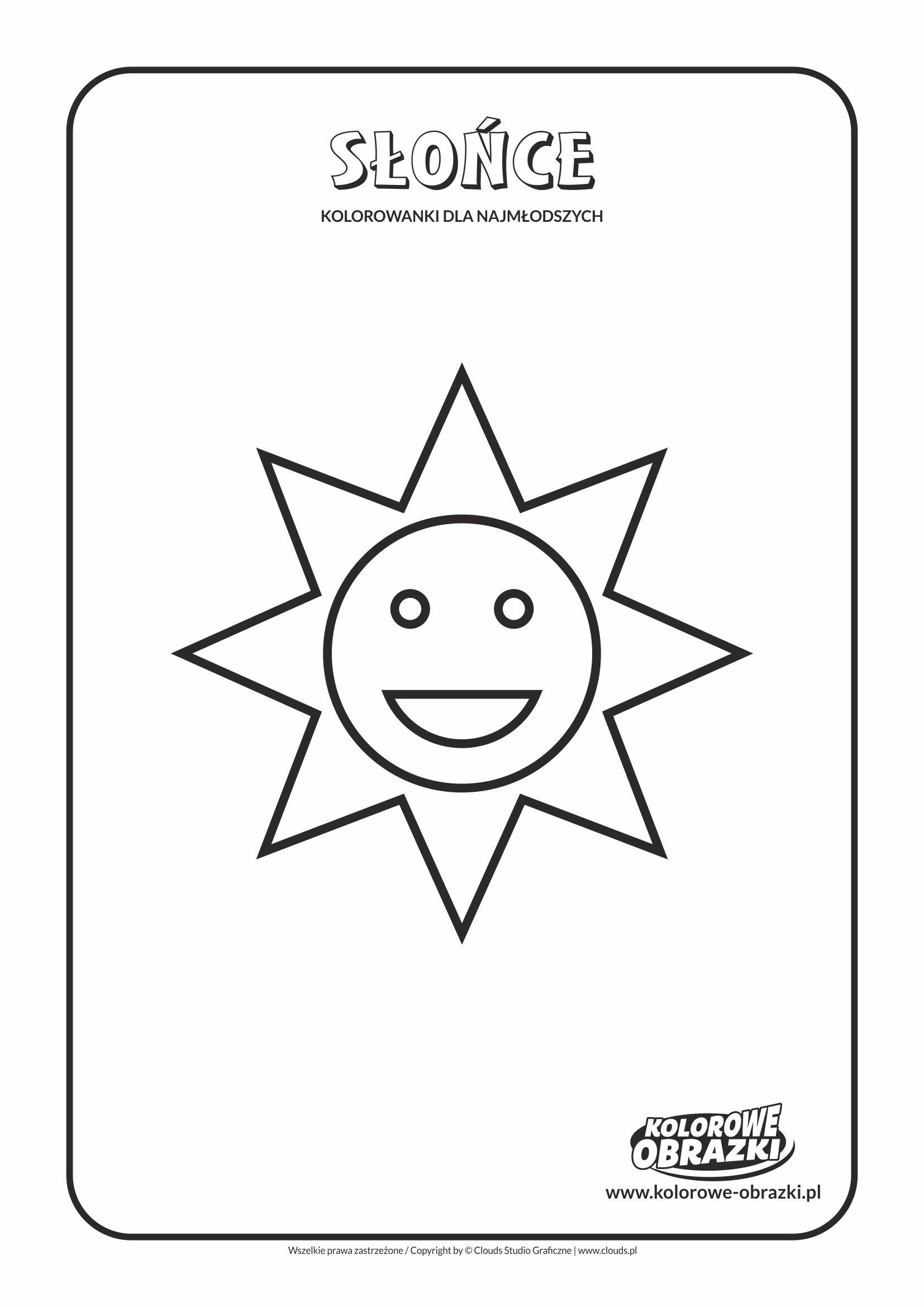 Proste kolorowanki dla najmłodszych - Kształty / Słońce. Kolorowanka ze słońcem
