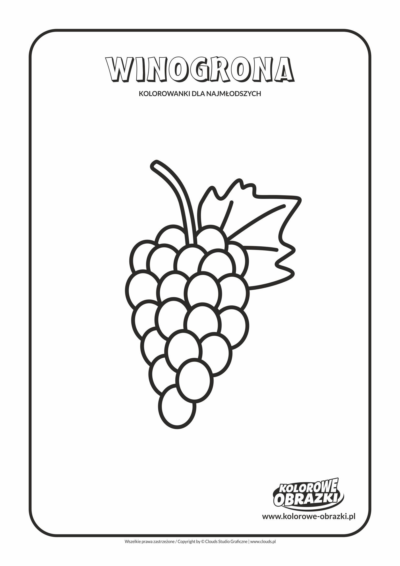 Proste kolorowanki dla najmłodszych - Owoce / Winogrona. Kolorowanka z winogronami