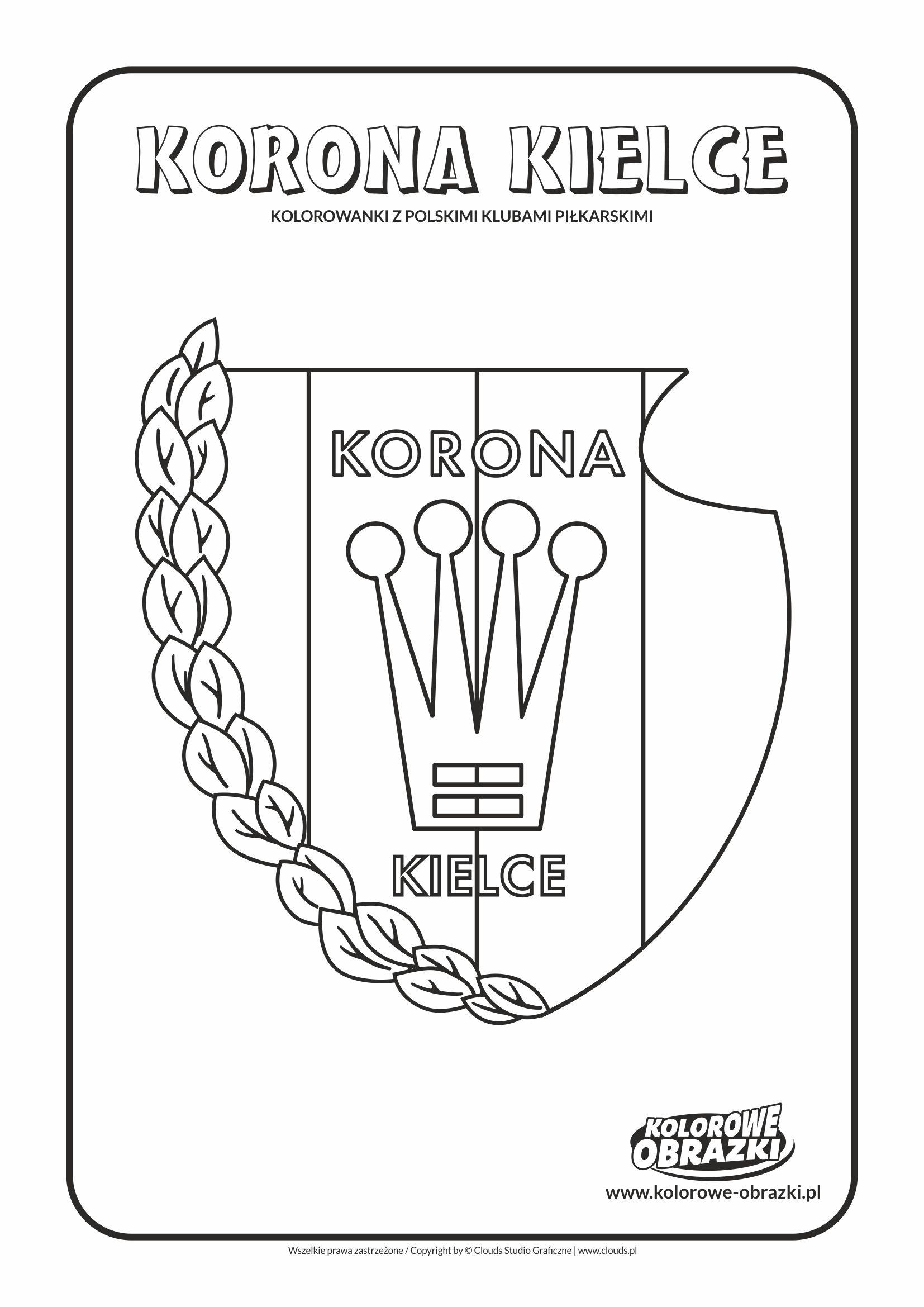 Kolorowanki dla dzieci - Polskie kluby piłkarskie / Korona Kielce. Kolorowanka z polskimi klubami piłkarskimi