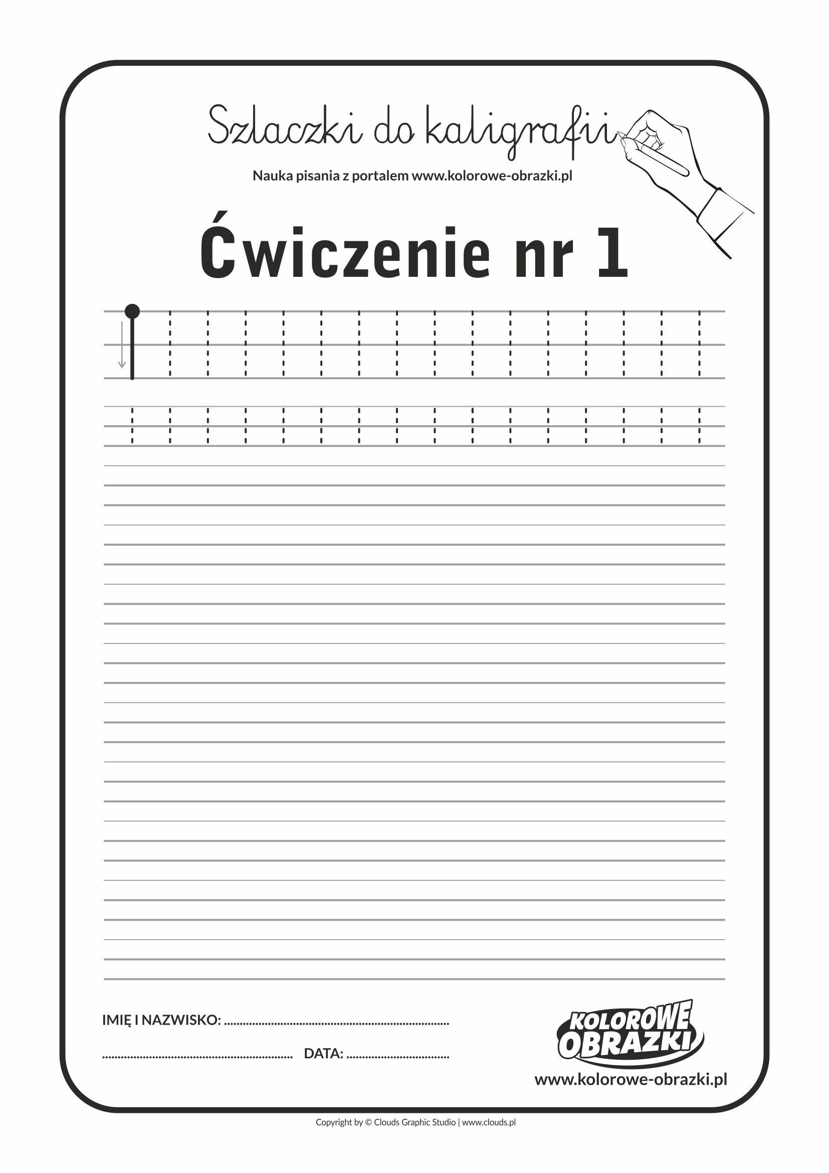 Kaligrafia dla dzieci - Ćwiczenia kaligraficzne / Szlaczki / Ćwiczenie nr 1