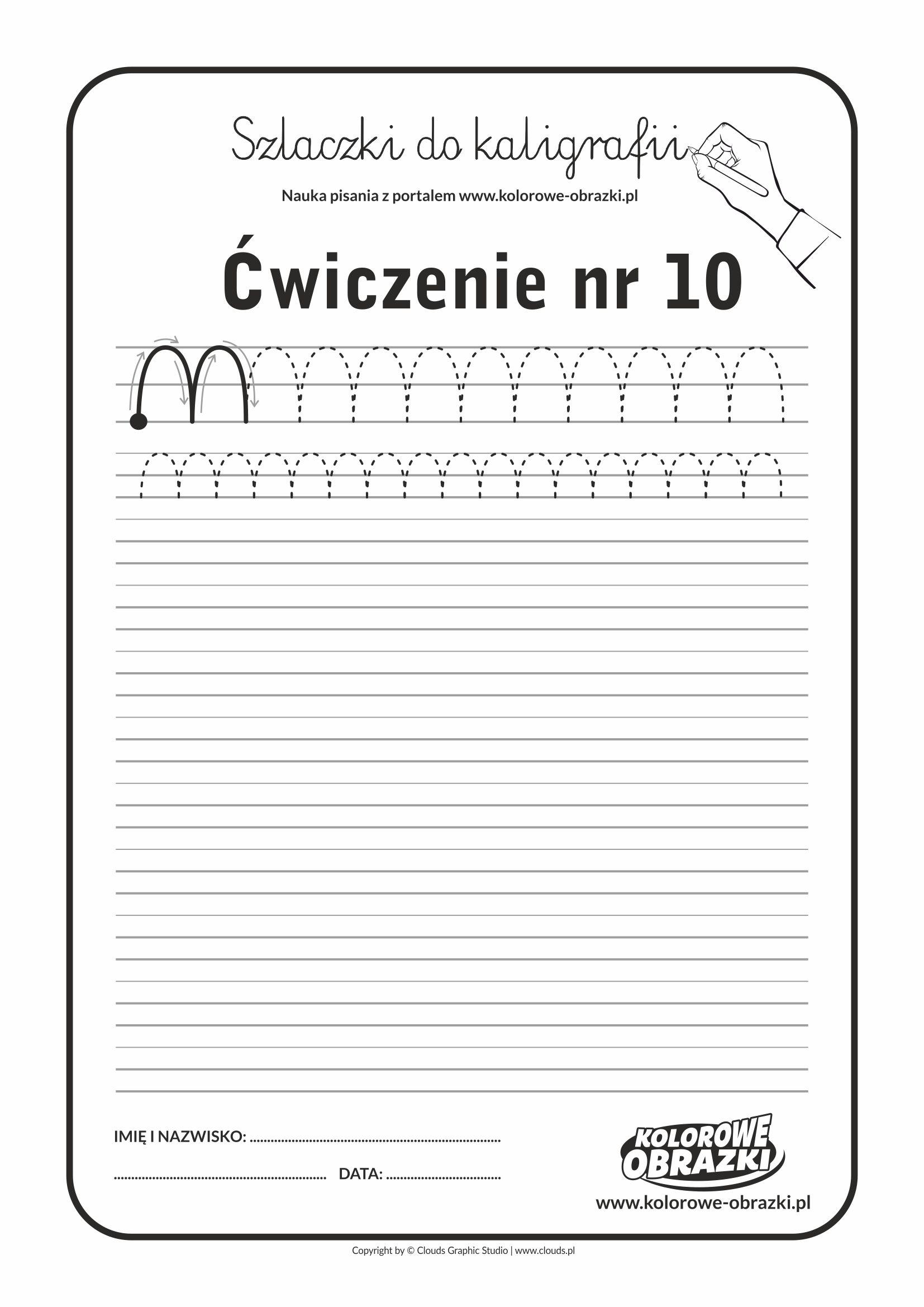 Kaligrafia dla dzieci - Ćwiczenia kaligraficzne / Szlaczki / Ćwiczenie nr 10