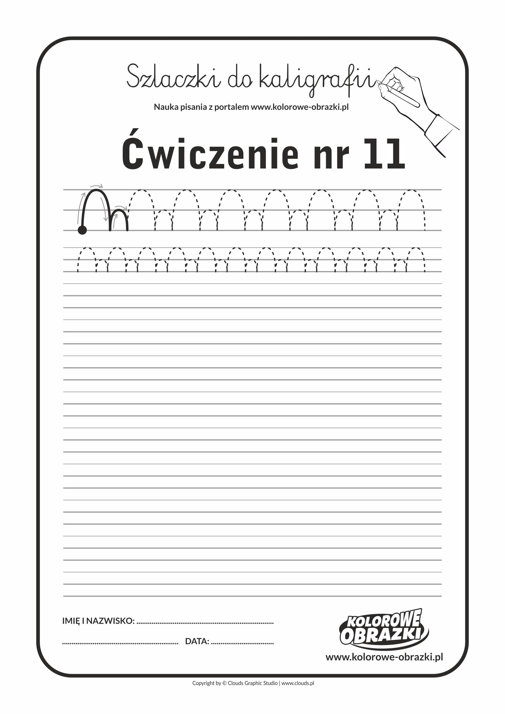 Kaligrafia dla dzieci - Ćwiczenia kaligraficzne / Szlaczki / Ćwiczenie nr 11
