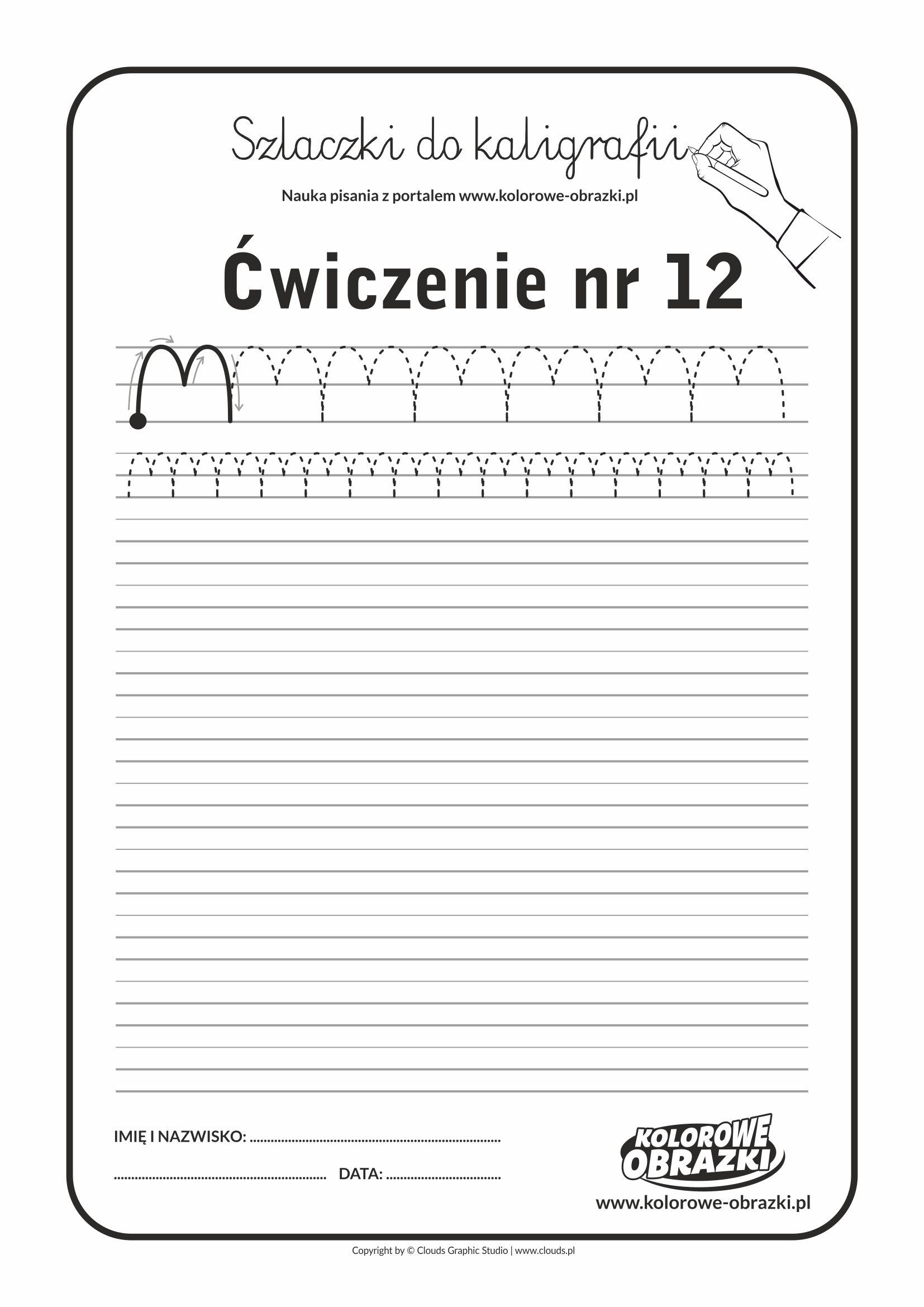 Kaligrafia dla dzieci - Ćwiczenia kaligraficzne / Szlaczki / Ćwiczenie nr 12