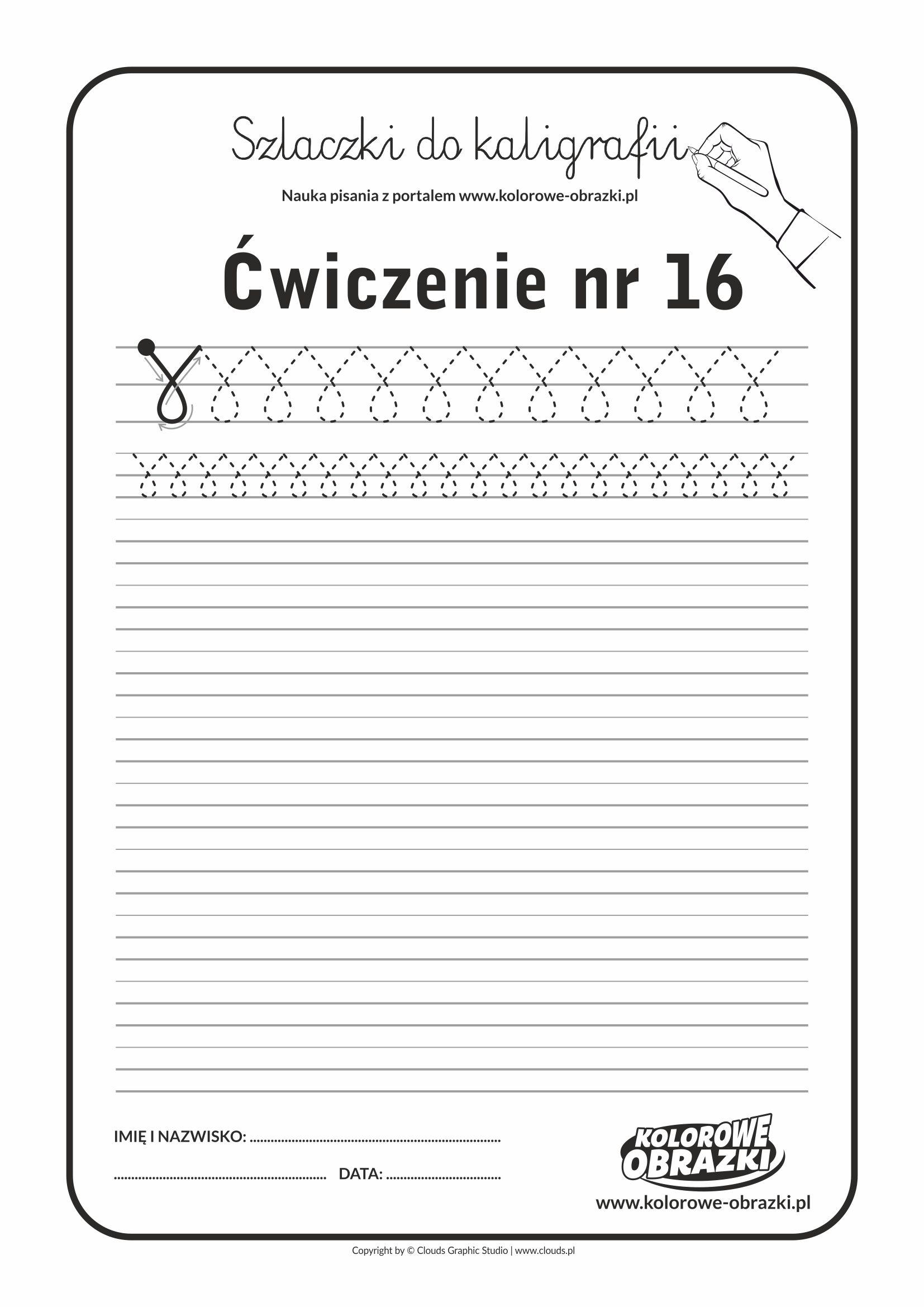 Kaligrafia dla dzieci - Ćwiczenia kaligraficzne / Szlaczki / Ćwiczenie nr 16