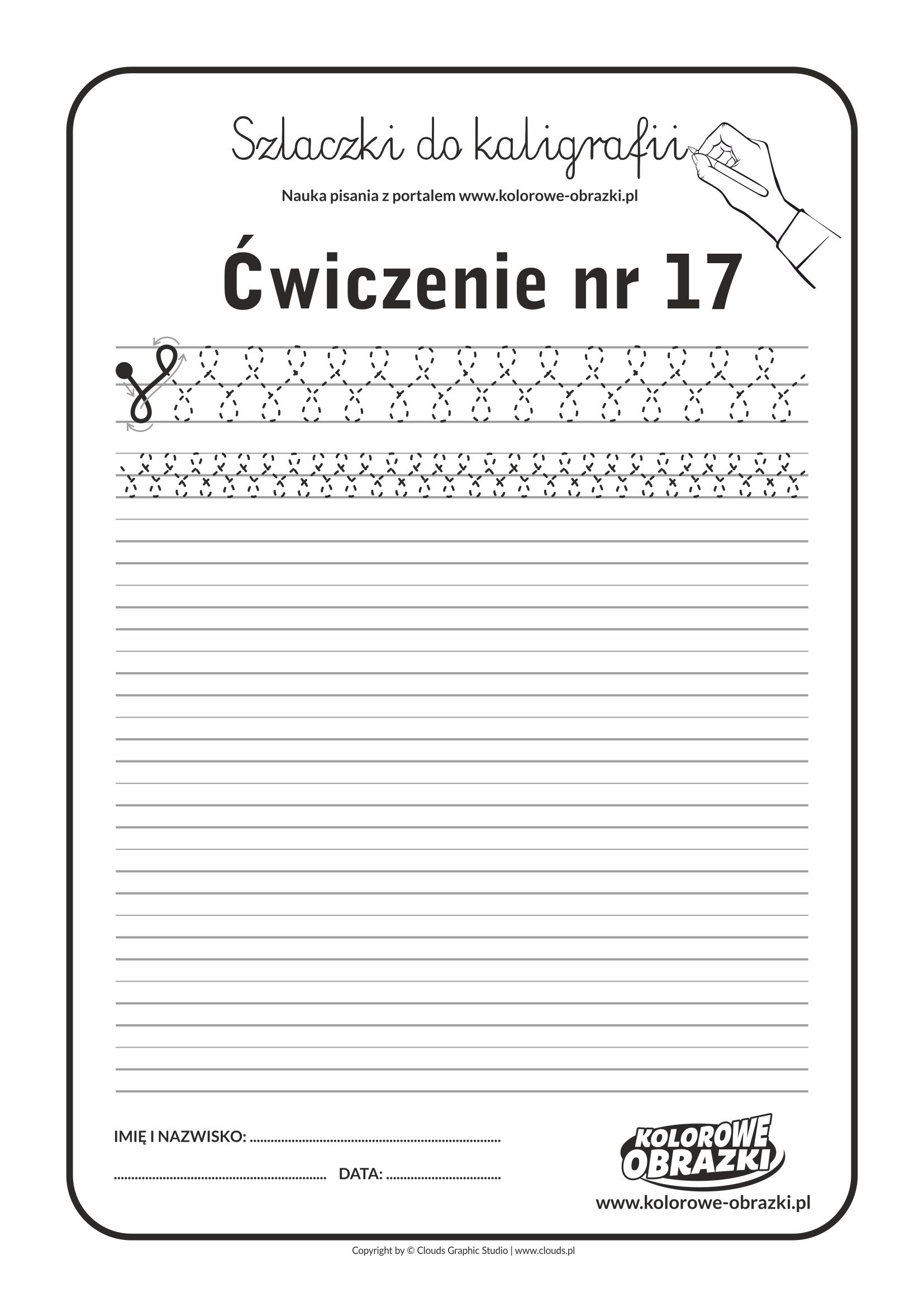 Kaligrafia dla dzieci - Ćwiczenia kaligraficzne / Szlaczki / Ćwiczenie nr 17