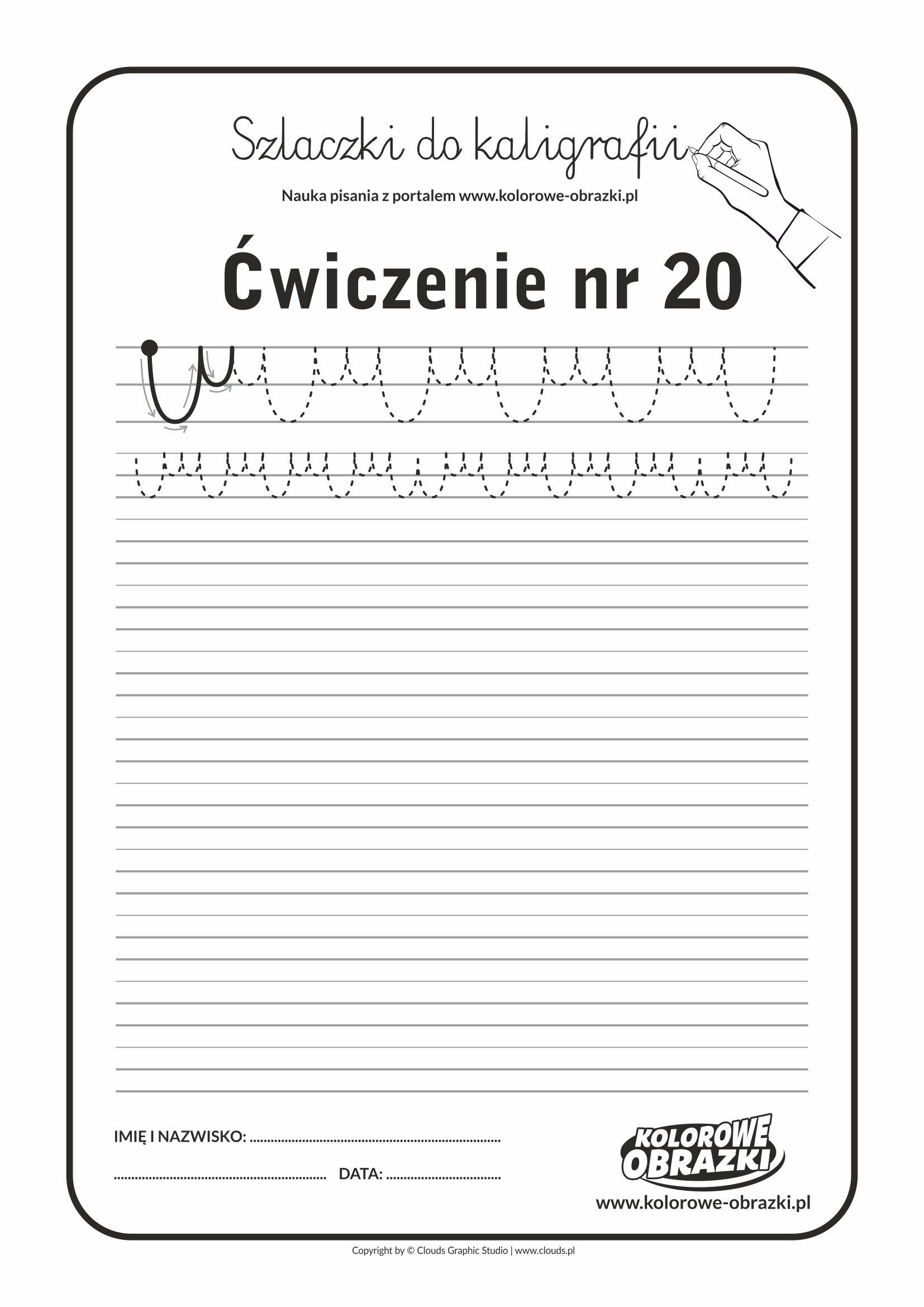 Kaligrafia dla dzieci - Ćwiczenia kaligraficzne / Szlaczki / Ćwiczenie nr 20