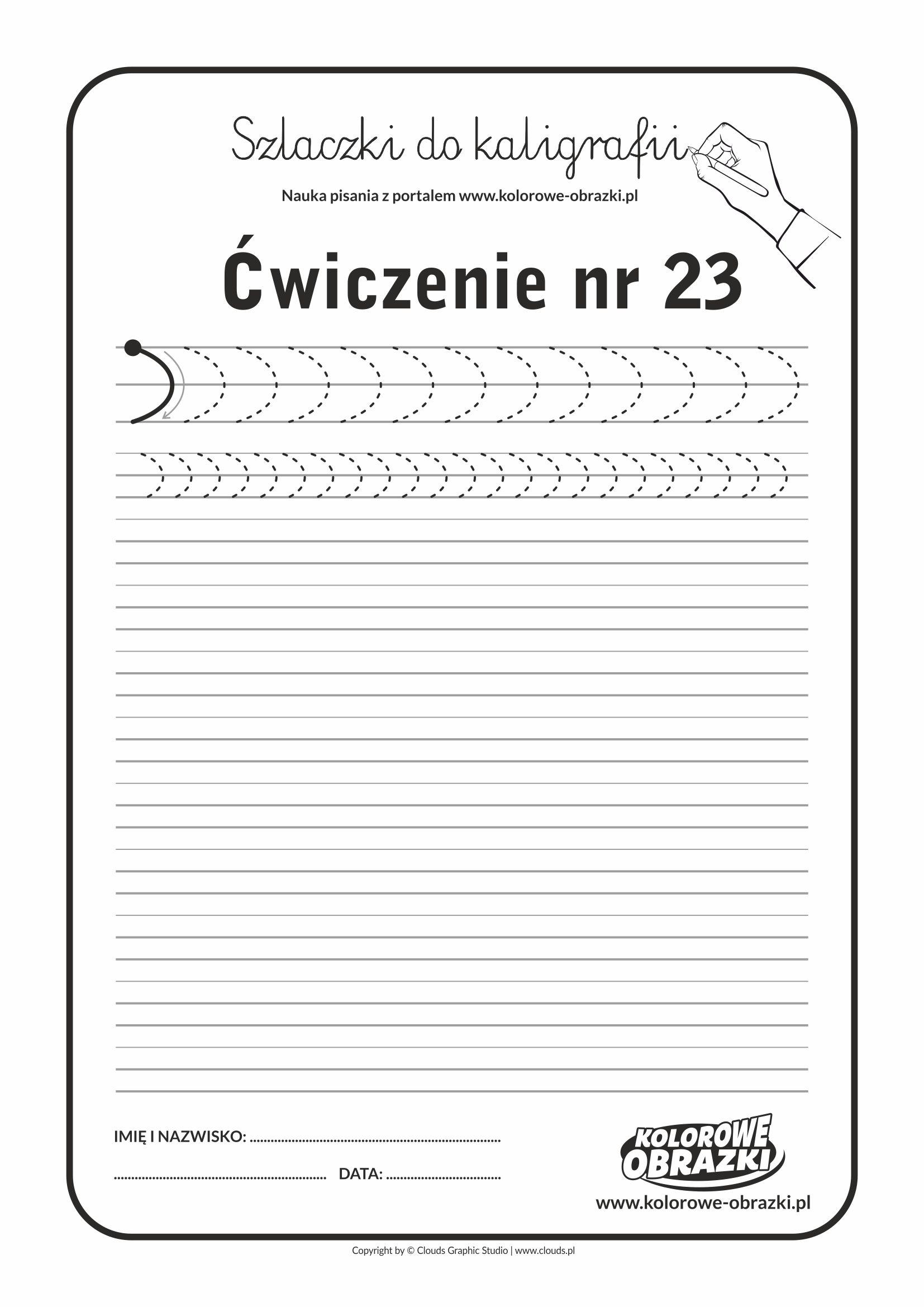Szlaczki - Nauka kaligrafii dla dzieci - Ćwiczenie nr 23