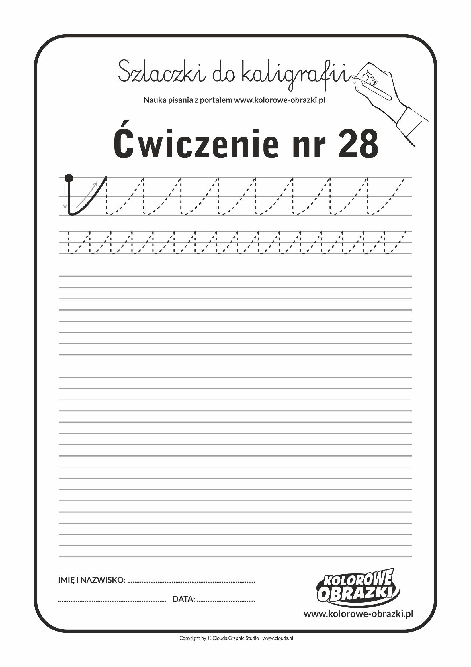Kaligrafia dla dzieci - Ćwiczenia kaligraficzne / Szlaczki / Ćwiczenie nr 28