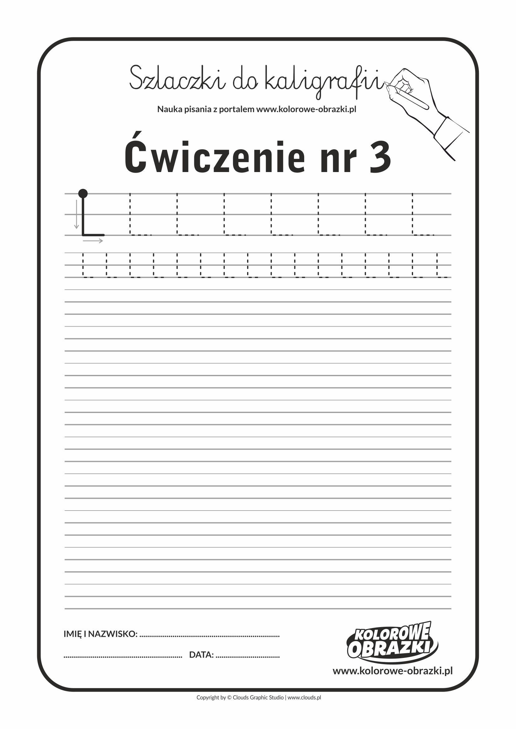 Kaligrafia dla dzieci - Ćwiczenia kaligraficzne / Szlaczki / Ćwiczenie nr 3